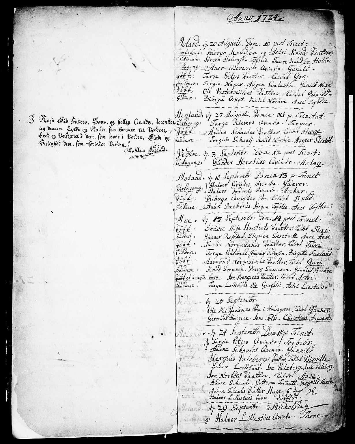 SAKO, Fyresdal kirkebøker, F/Fa/L0001: Parish register (official) no. I 1, 1724-1748, p. 2