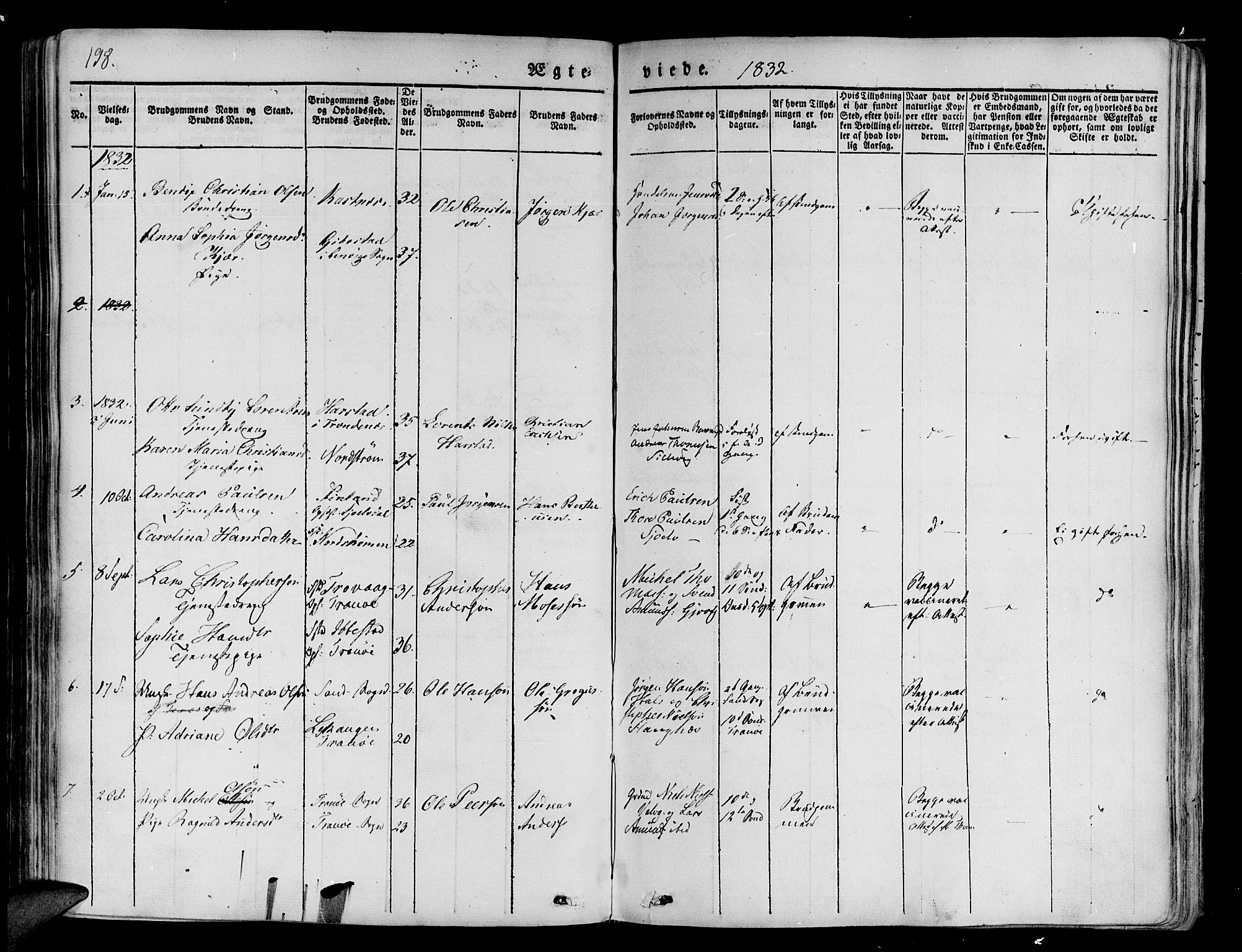 SATØ, Tranøy sokneprestkontor, I/Ia/Iaa/L0005kirke: Parish register (official) no. 5, 1829-1844, p. 198