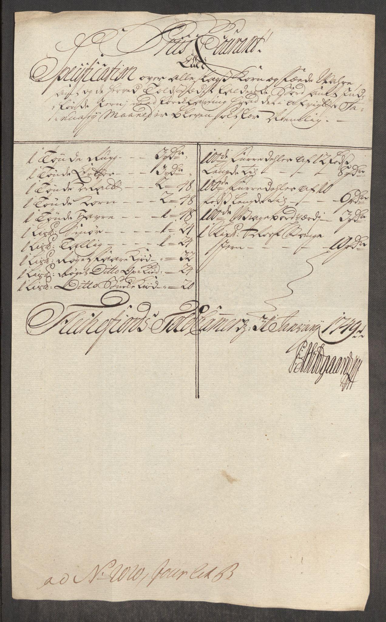 RA, Rentekammeret inntil 1814, Realistisk ordnet avdeling, Oe/L0004: [Ø1]: Priskuranter, 1749-1752, p. 187