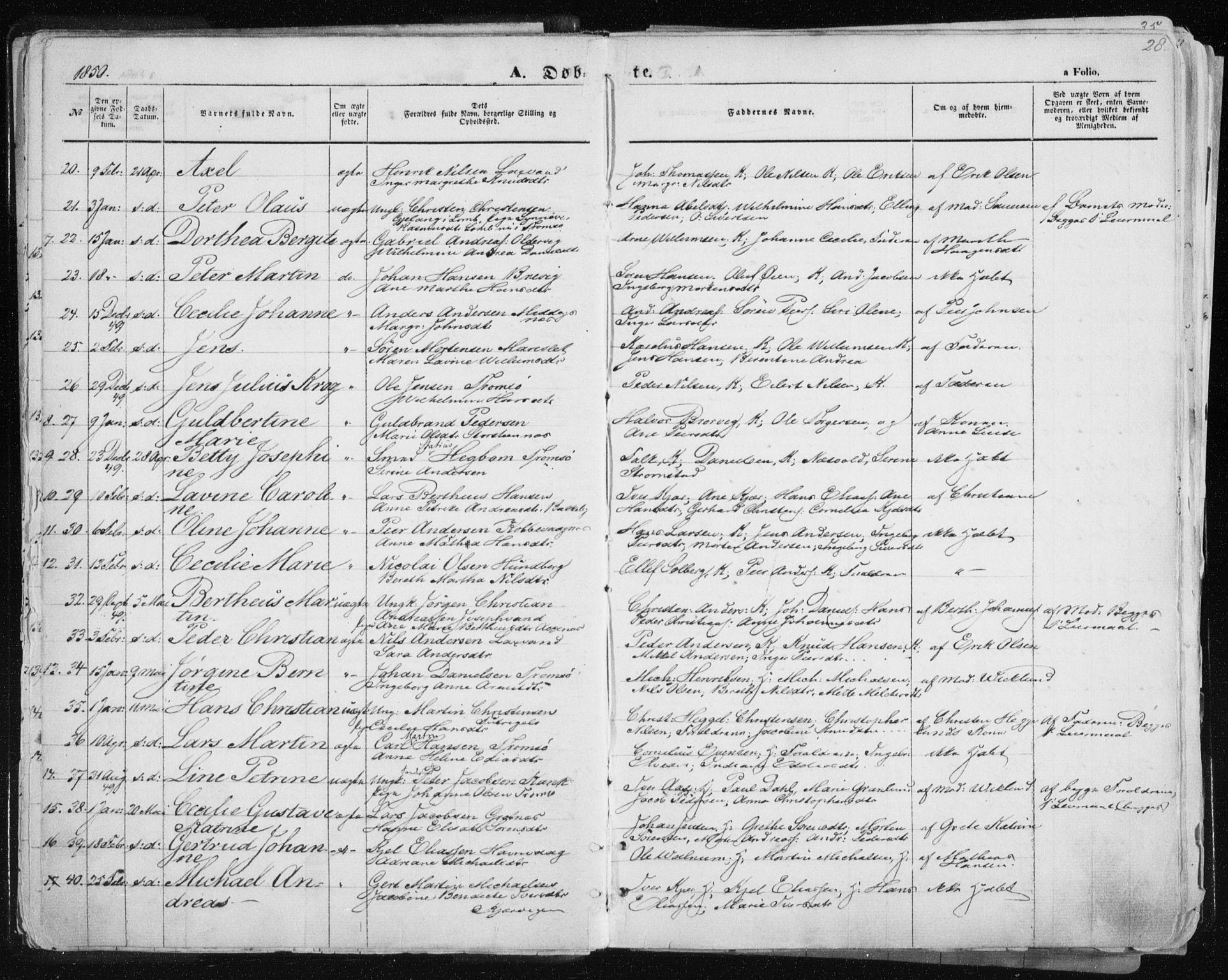 SATØ, Tromsø sokneprestkontor/stiftsprosti/domprosti, G/Ga/L0010kirke: Parish register (official) no. 10, 1848-1855, p. 28