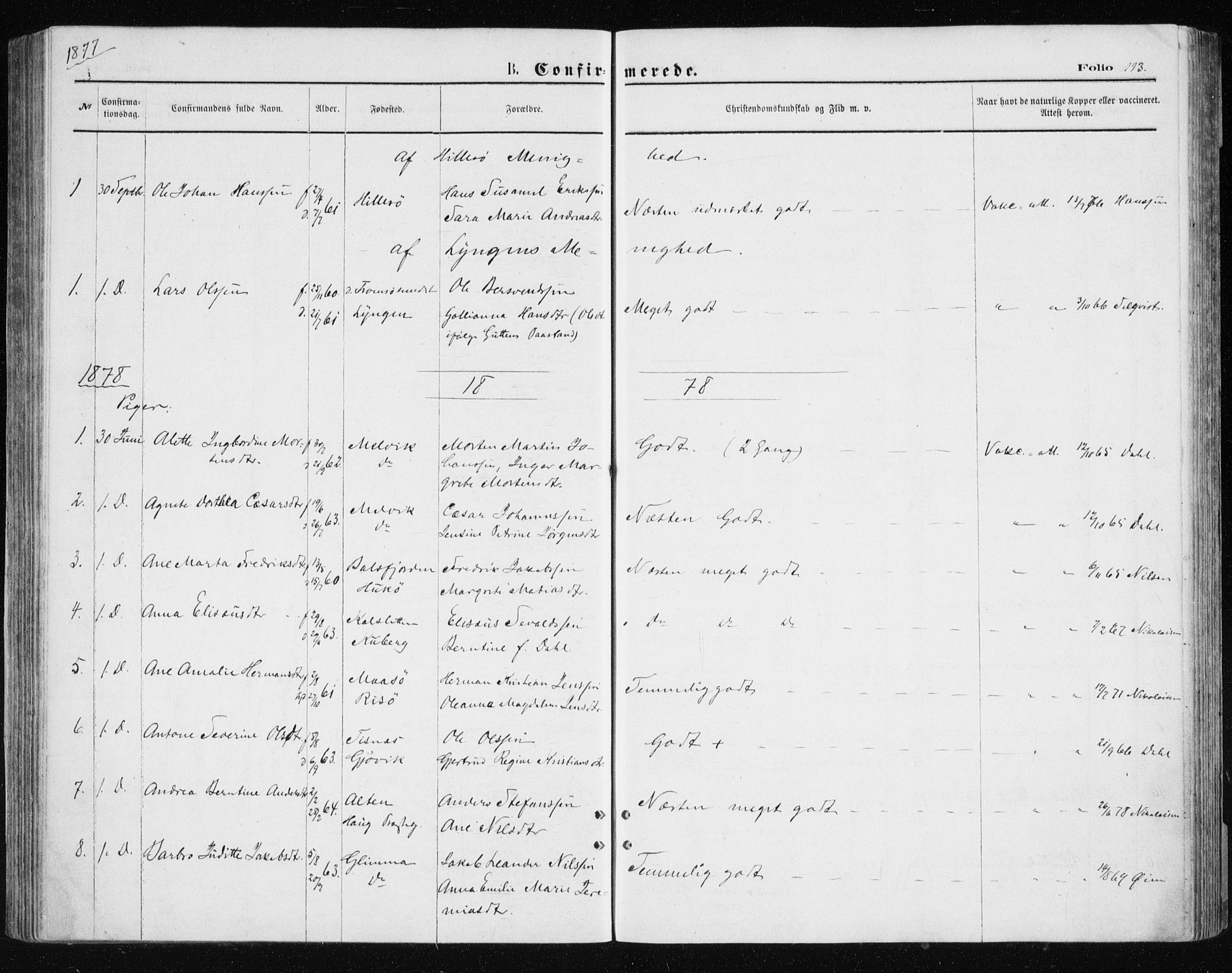 SATØ, Tromsøysund sokneprestkontor, G/Ga/L0003kirke: Parish register (official) no. 3, 1875-1880, p. 113