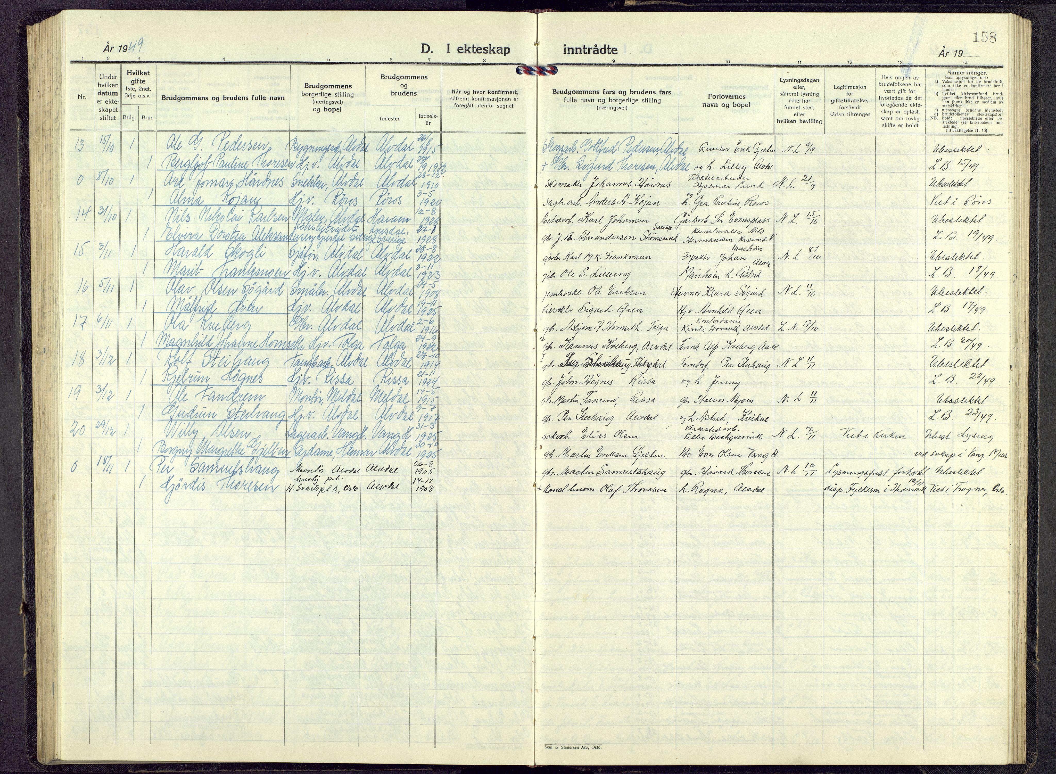 SAH, Alvdal prestekontor, Parish register (copy) no. 9, 1946-1965, p. 157b-158a