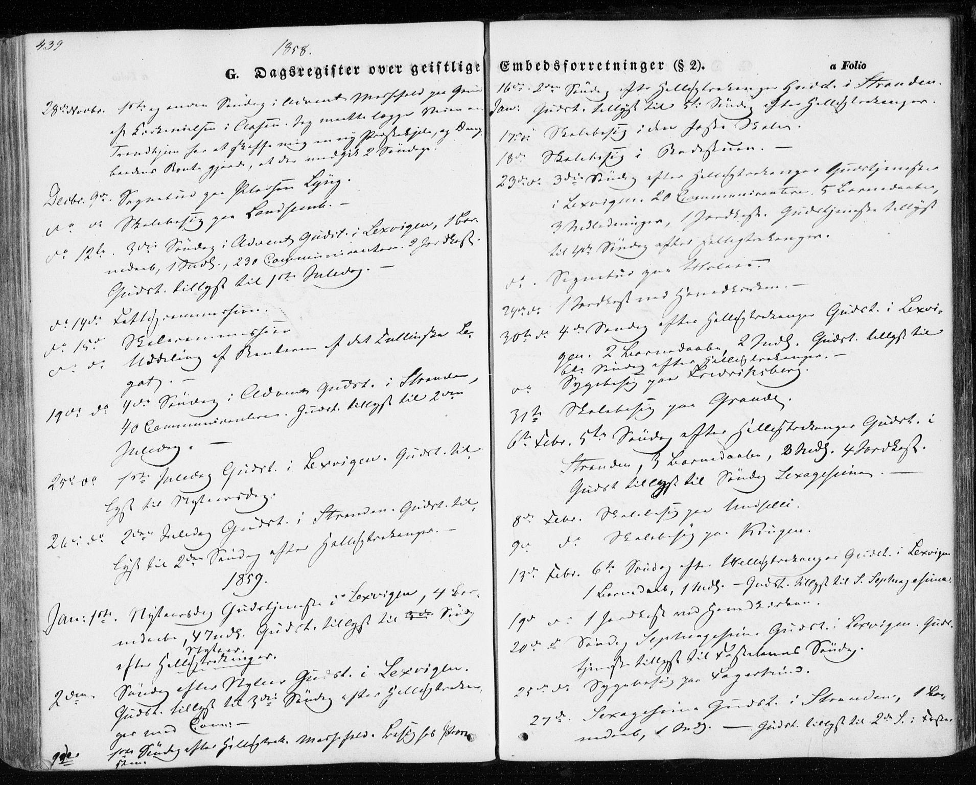 SAT, Ministerialprotokoller, klokkerbøker og fødselsregistre - Nord-Trøndelag, 701/L0008: Parish register (official) no. 701A08 /1, 1854-1863, p. 439