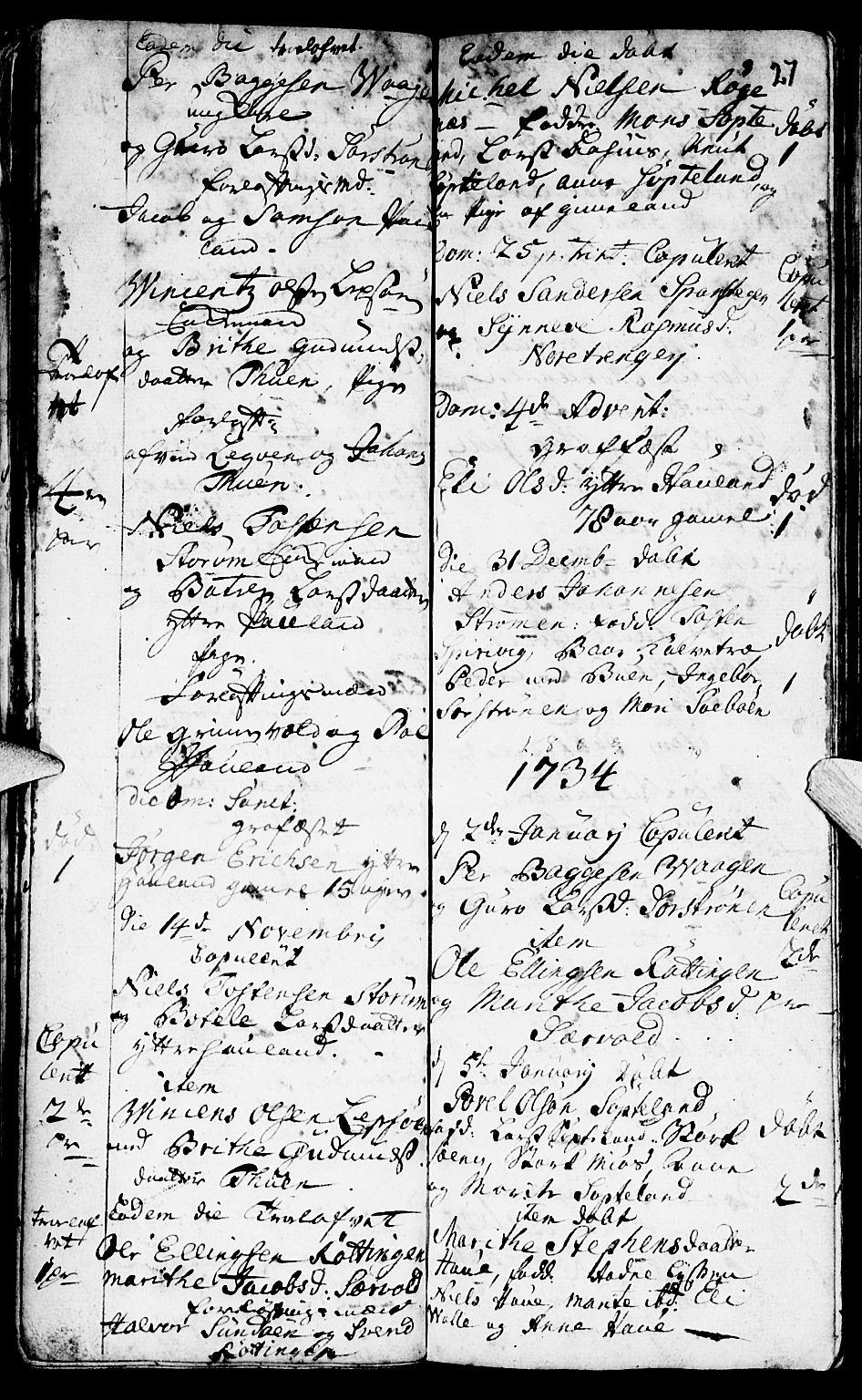 SAB, Os sokneprestembete*, Parish register (official) no. A 2, 1723-1758, p. 27