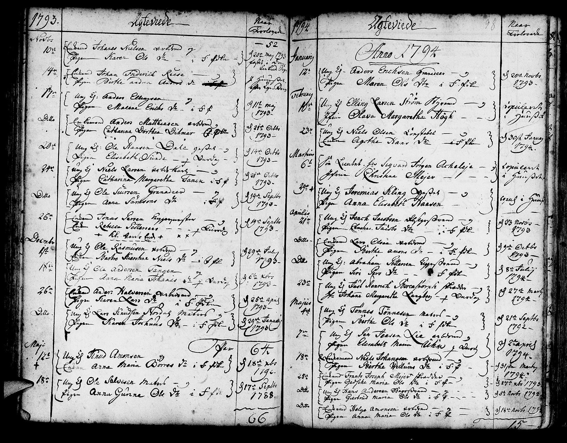 SAB, Korskirken Sokneprestembete, H/Haa/L0009: Parish register (official) no. A 9, 1743-1861, p. 98