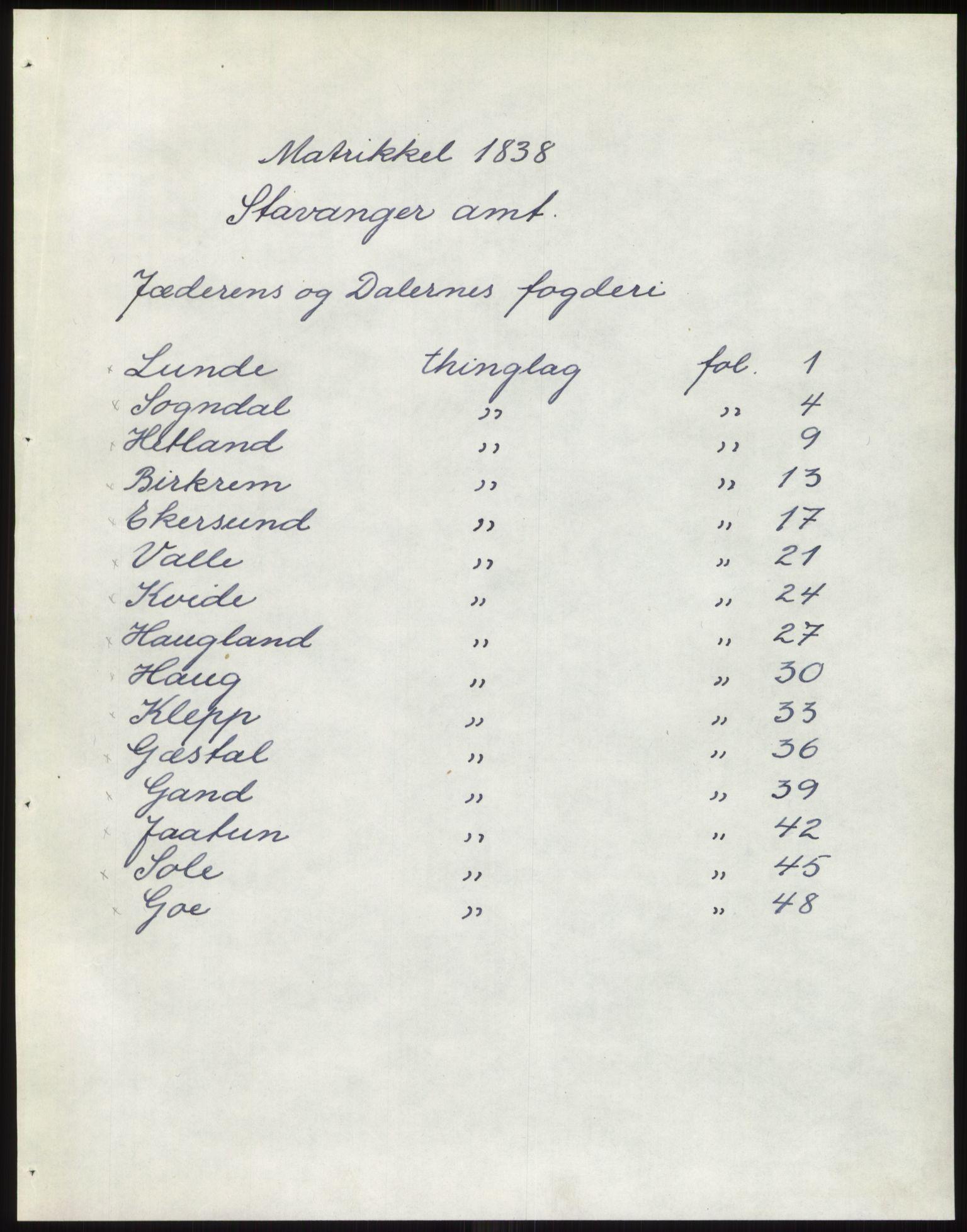 PUBL, Andre publikasjoner, -/Bind 10: Stavanger amt, 1838, p. 1