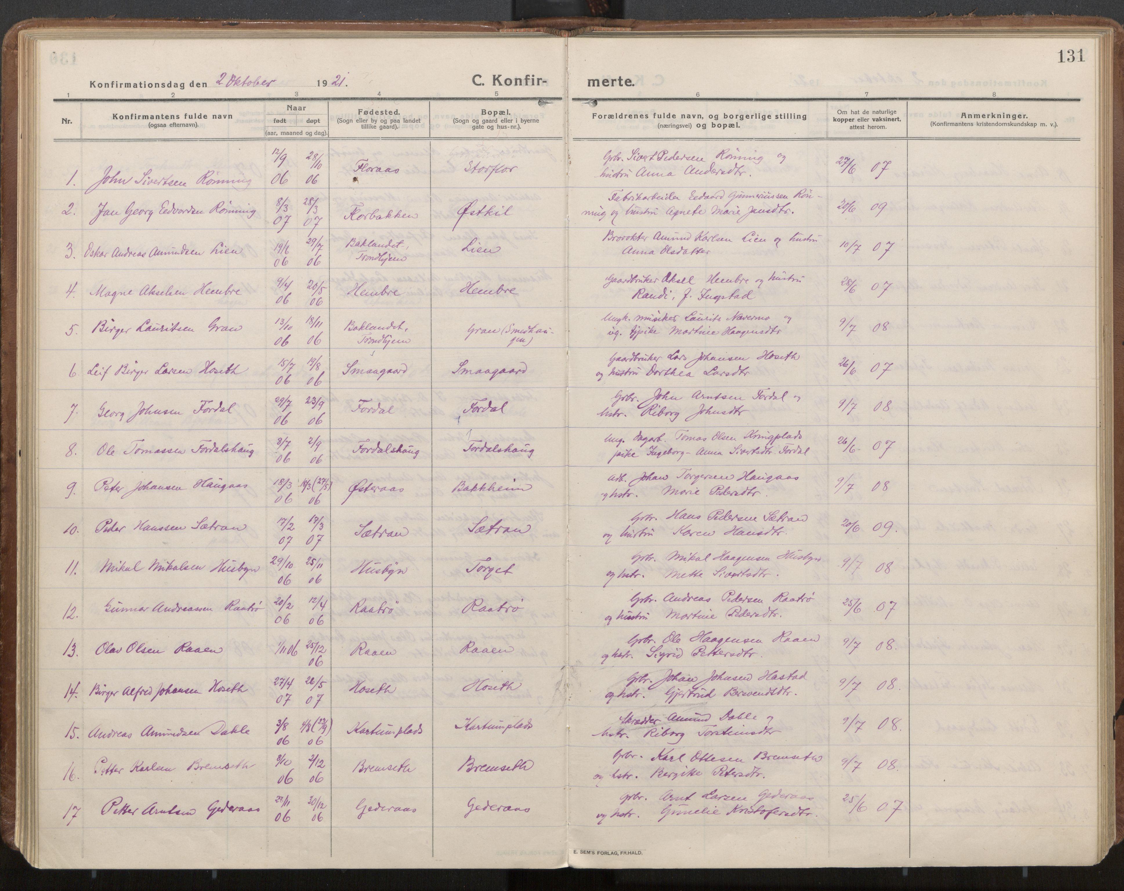 SAT, Ministerialprotokoller, klokkerbøker og fødselsregistre - Nord-Trøndelag, 703/L0037: Parish register (official) no. 703A10, 1915-1932, p. 131