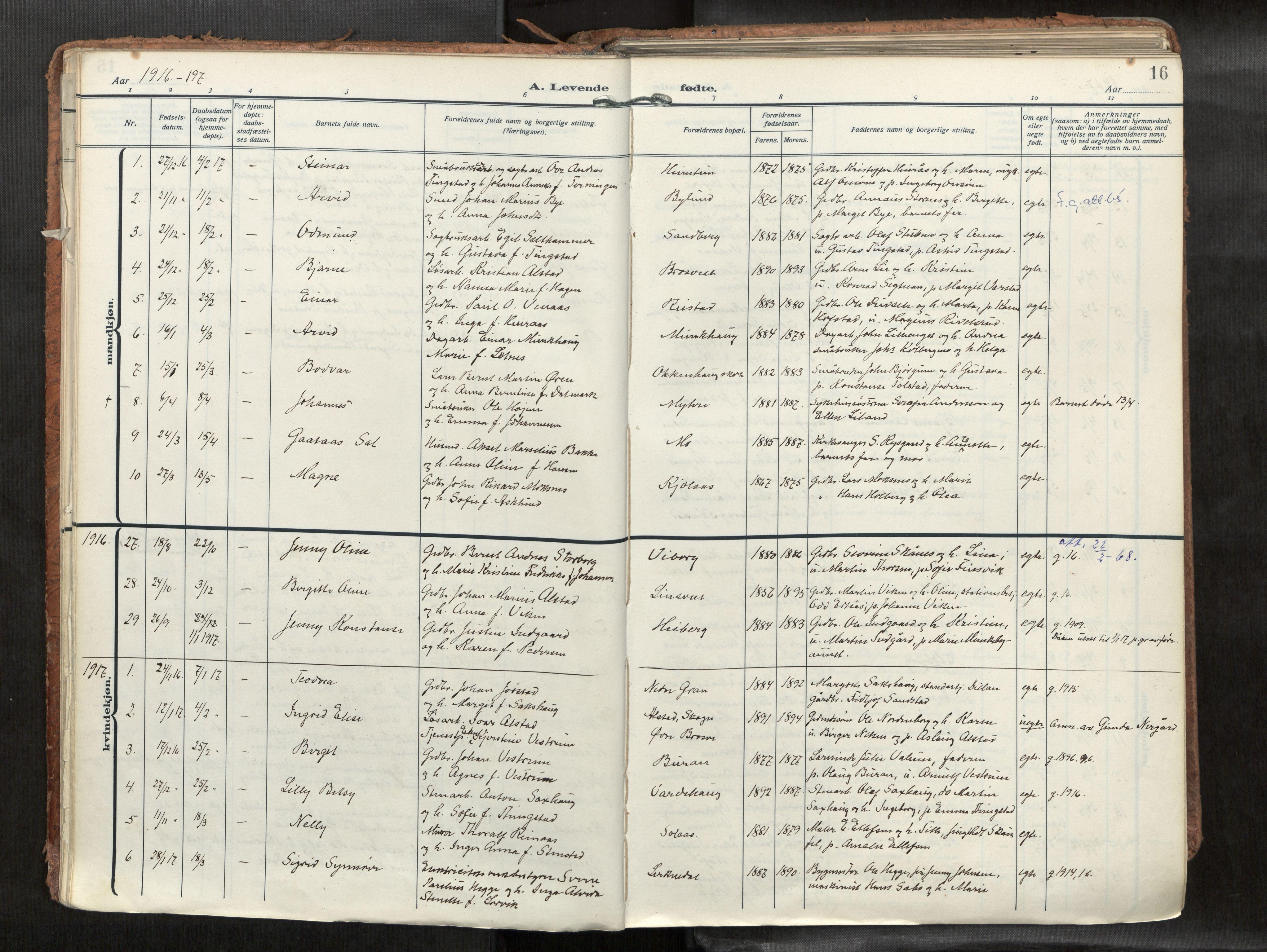 SAT, Levanger sokneprestkontor*, Parish register (official) no. 1, 1912-1935, p. 16