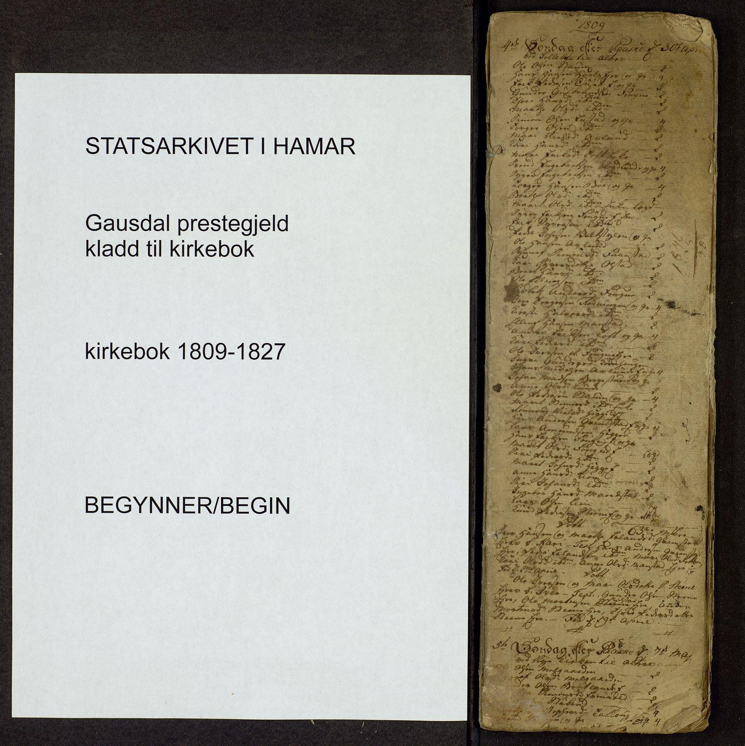 SAH, Gausdal prestekontor, Parish register draft no. -, 1809-1827