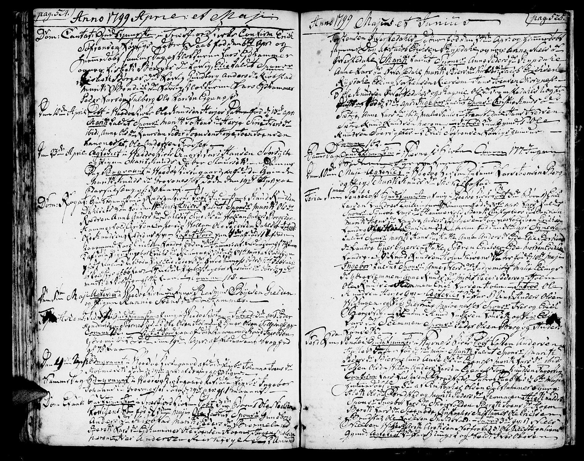SAT, Ministerialprotokoller, klokkerbøker og fødselsregistre - Møre og Romsdal, 547/L0600: Parish register (official) no. 547A02, 1765-1799, p. 524-525