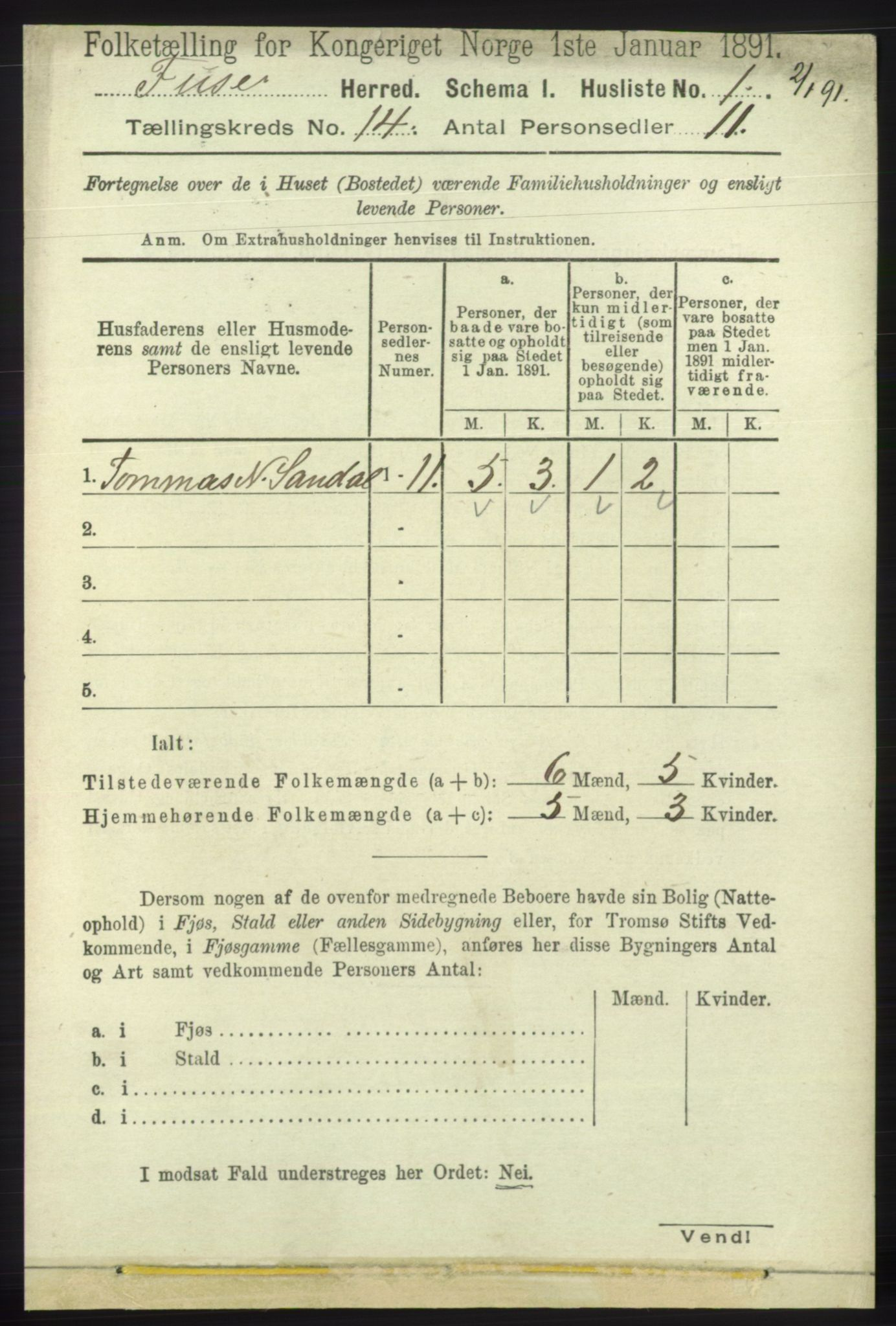 RA, 1891 census for 1241 Fusa, 1891, p. 3142