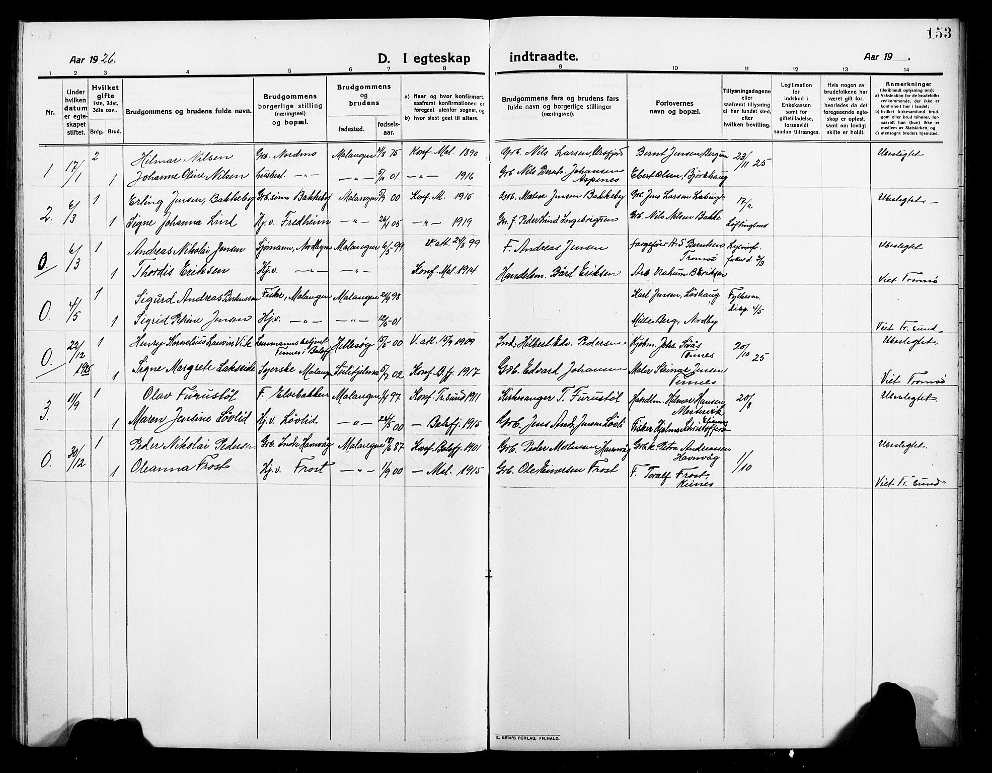 SATØ, Balsfjord sokneprestembete, Parish register (copy) no. 4, 1910-1926, p. 153