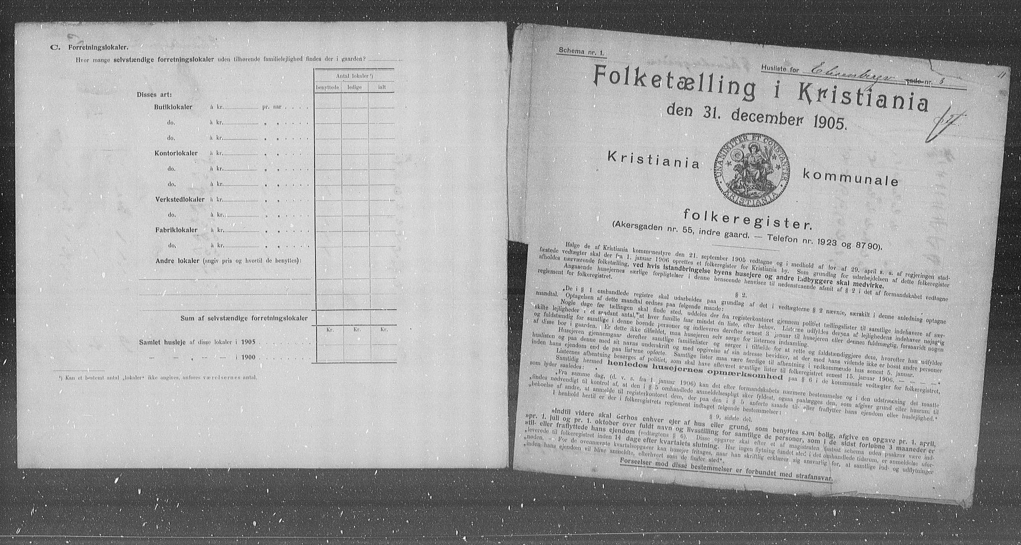OBA, Municipal Census 1905 for Kristiania, 1905, p. 10284