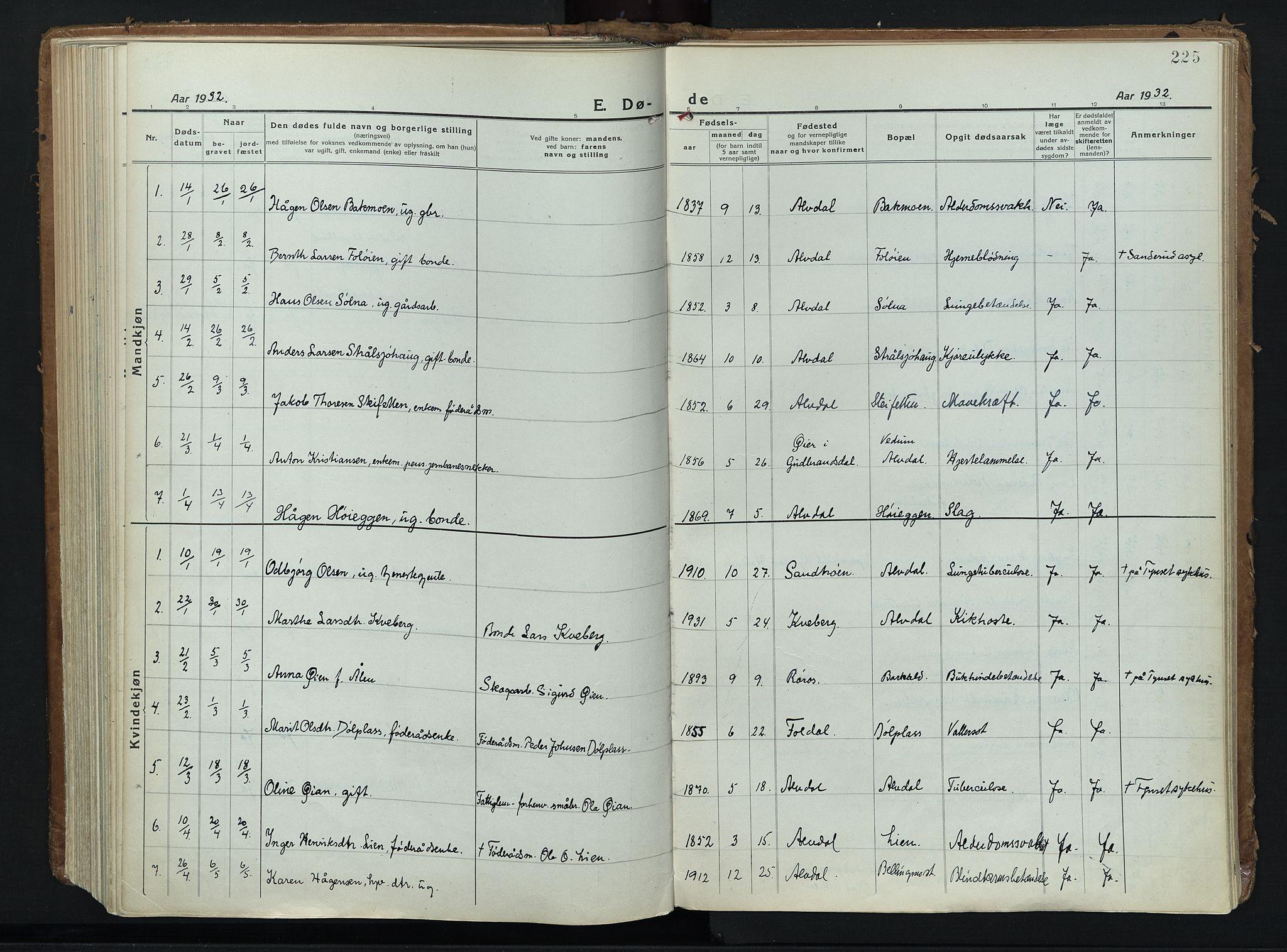 SAH, Alvdal prestekontor, Parish register (official) no. 6, 1920-1937, p. 225