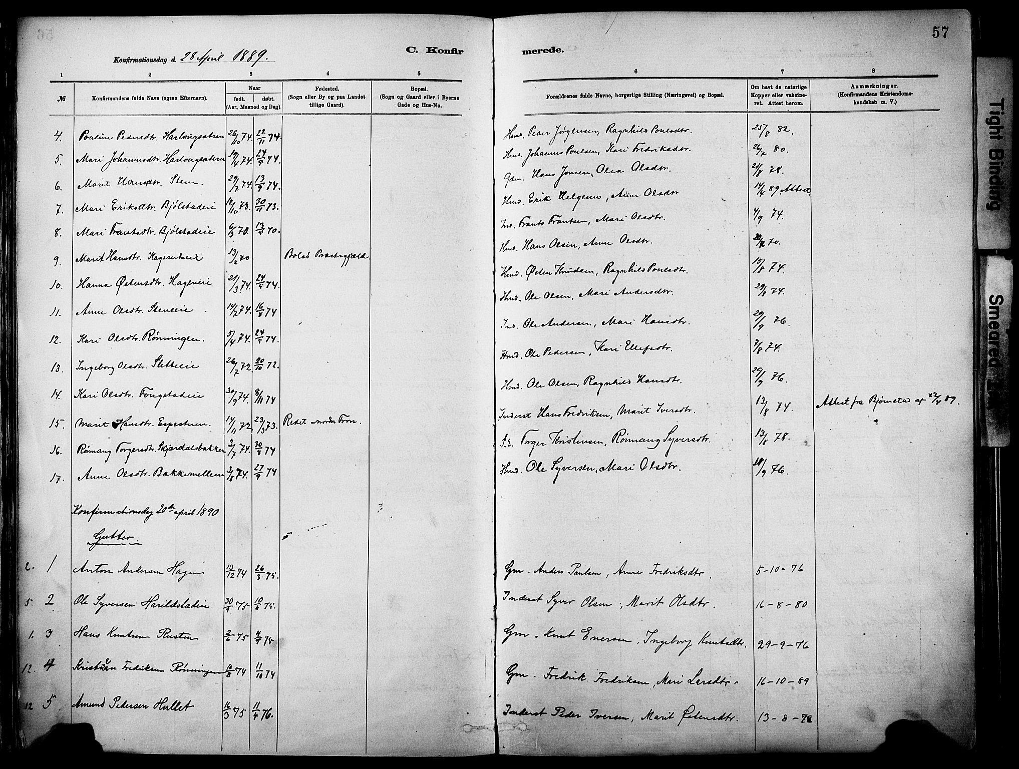 SAH, Vågå prestekontor, Parish register (official) no. 10, 1887-1904, p. 57