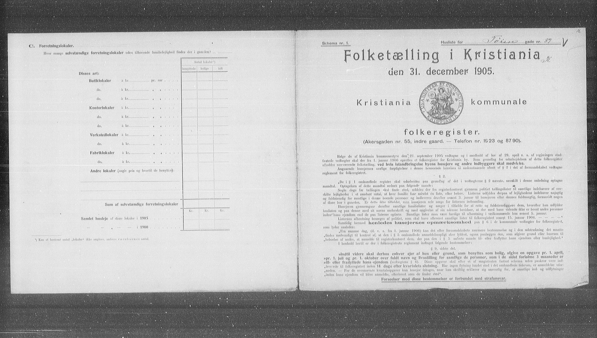 OBA, Municipal Census 1905 for Kristiania, 1905, p. 61713