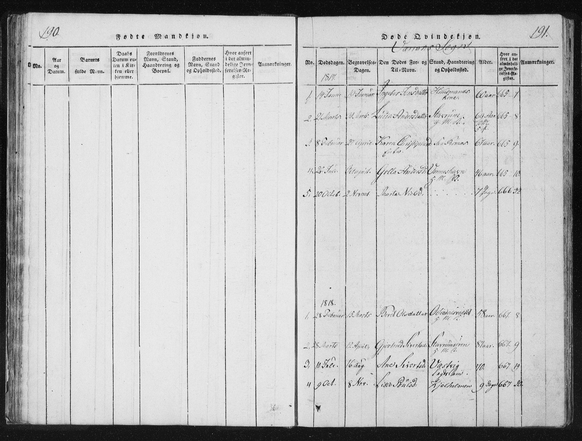 SAT, Ministerialprotokoller, klokkerbøker og fødselsregistre - Nord-Trøndelag, 744/L0417: Parish register (official) no. 744A01, 1817-1842, p. 190-191