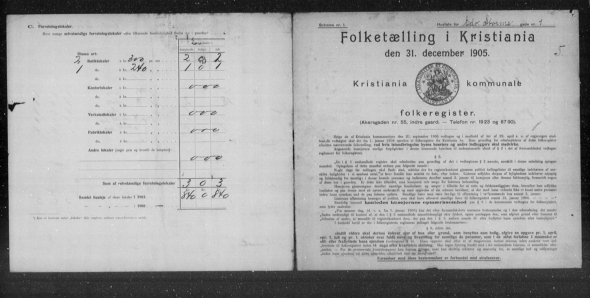 OBA, Municipal Census 1905 for Kristiania, 1905, p. 9760