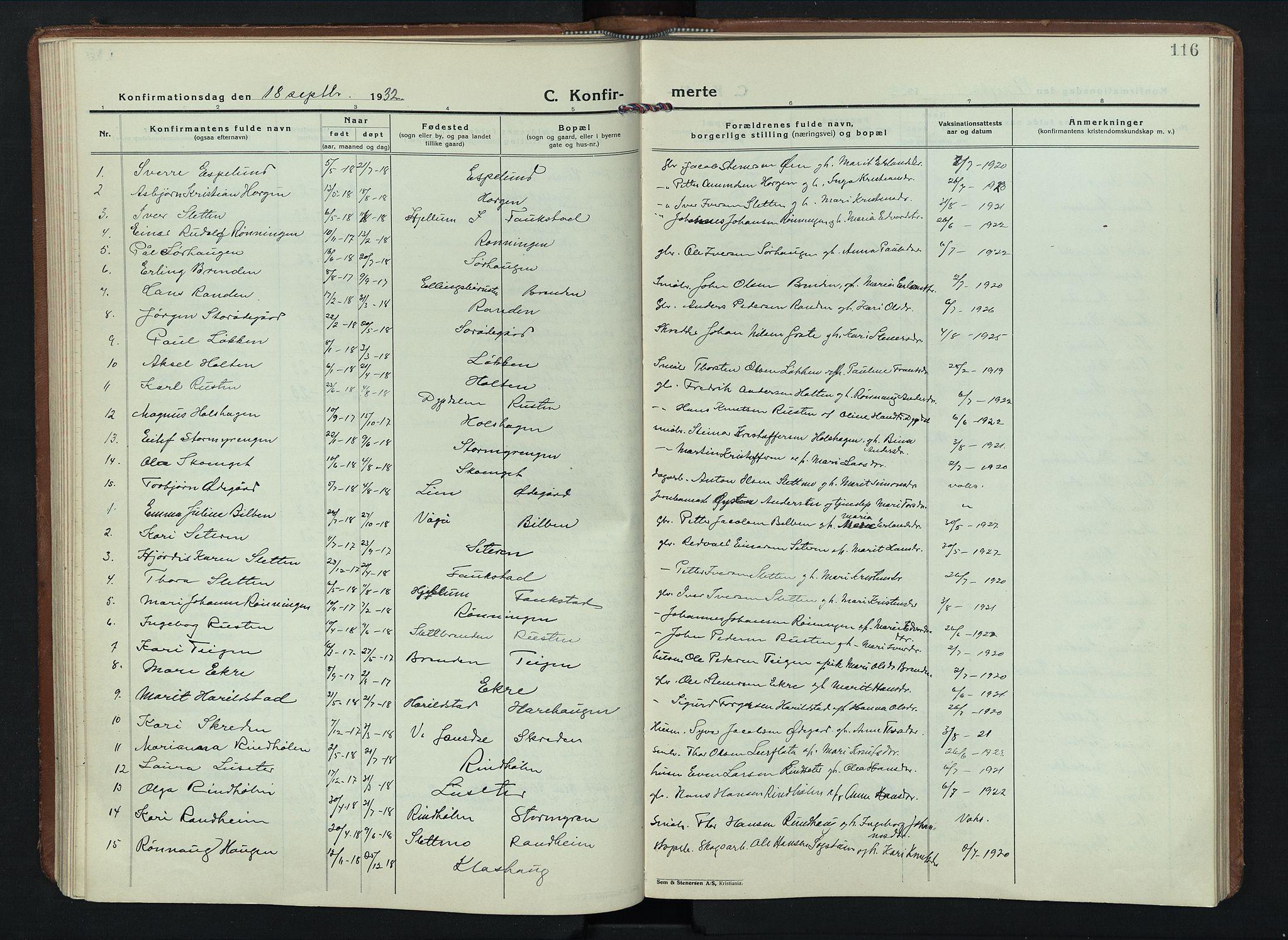 SAH, Sel prestekontor, Parish register (copy) no. 6, 1923-1953, p. 116