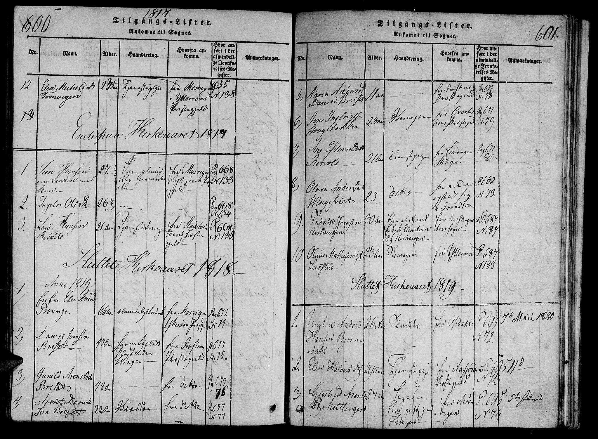 SAT, Ministerialprotokoller, klokkerbøker og fødselsregistre - Nord-Trøndelag, 701/L0005: Parish register (official) no. 701A05 /1, 1816-1825, p. 600-601