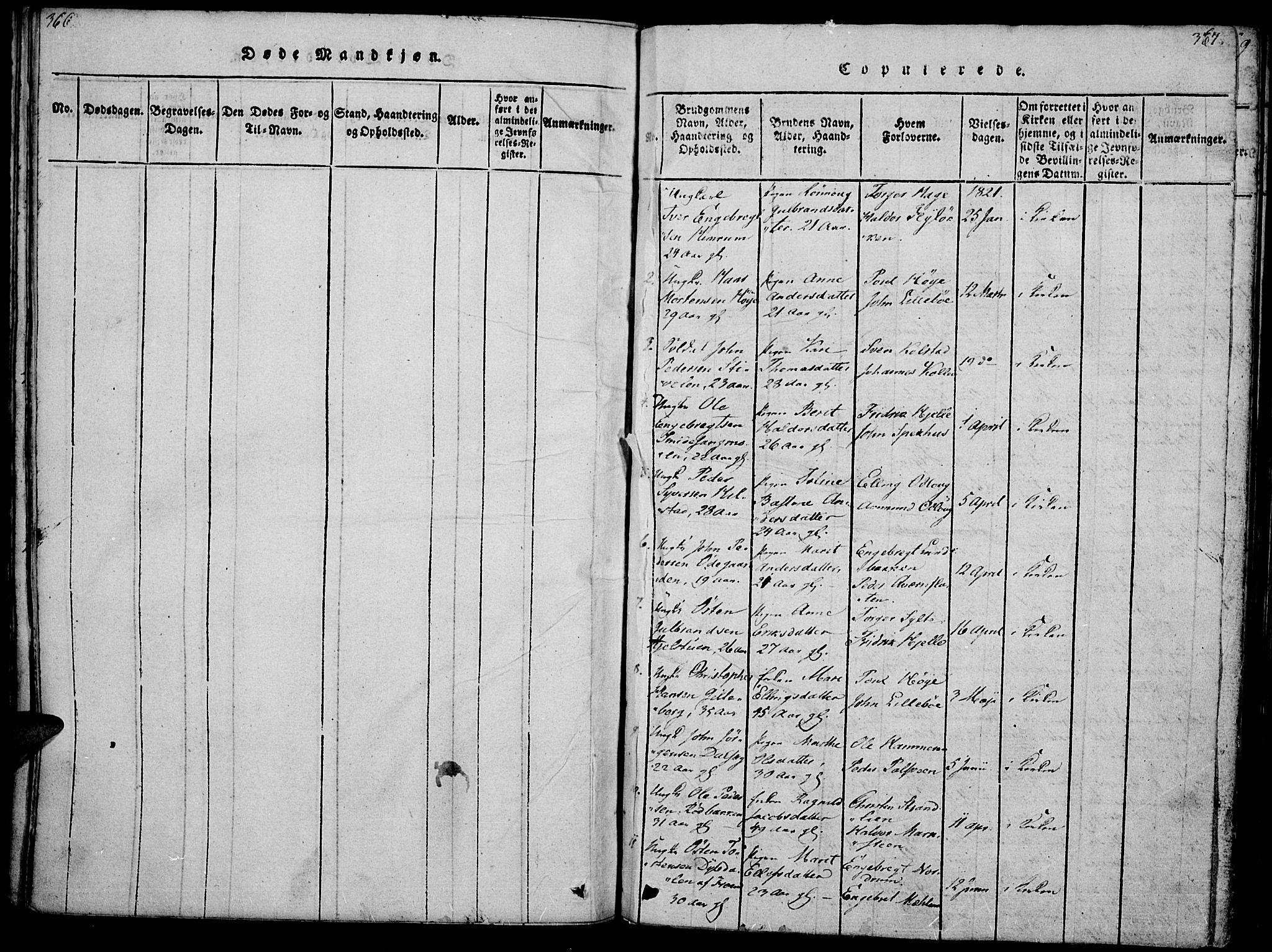 SAH, Ringebu prestekontor, Parish register (official) no. 4, 1821-1839, p. 366-367