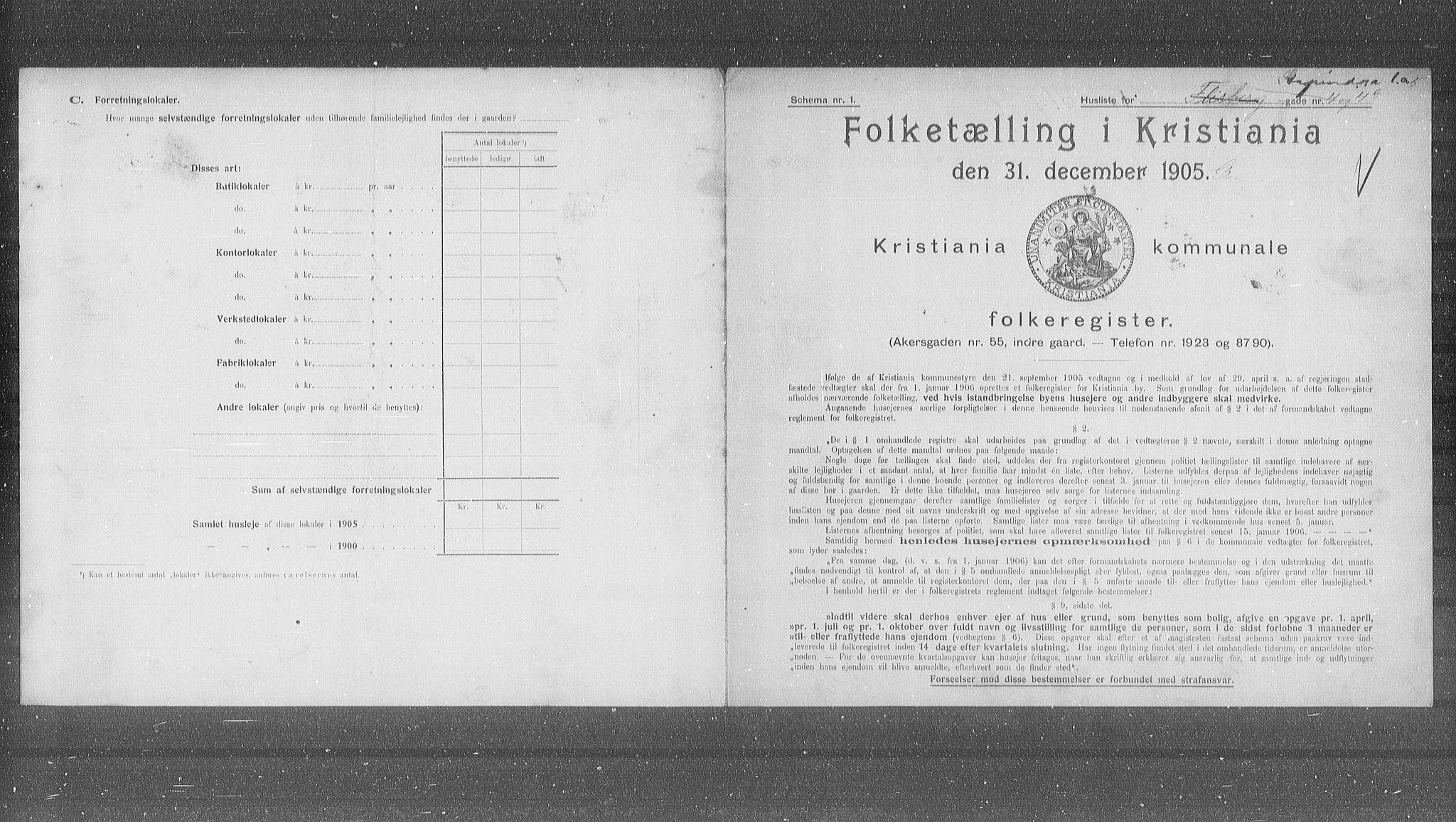 OBA, Municipal Census 1905 for Kristiania, 1905, p. 54708