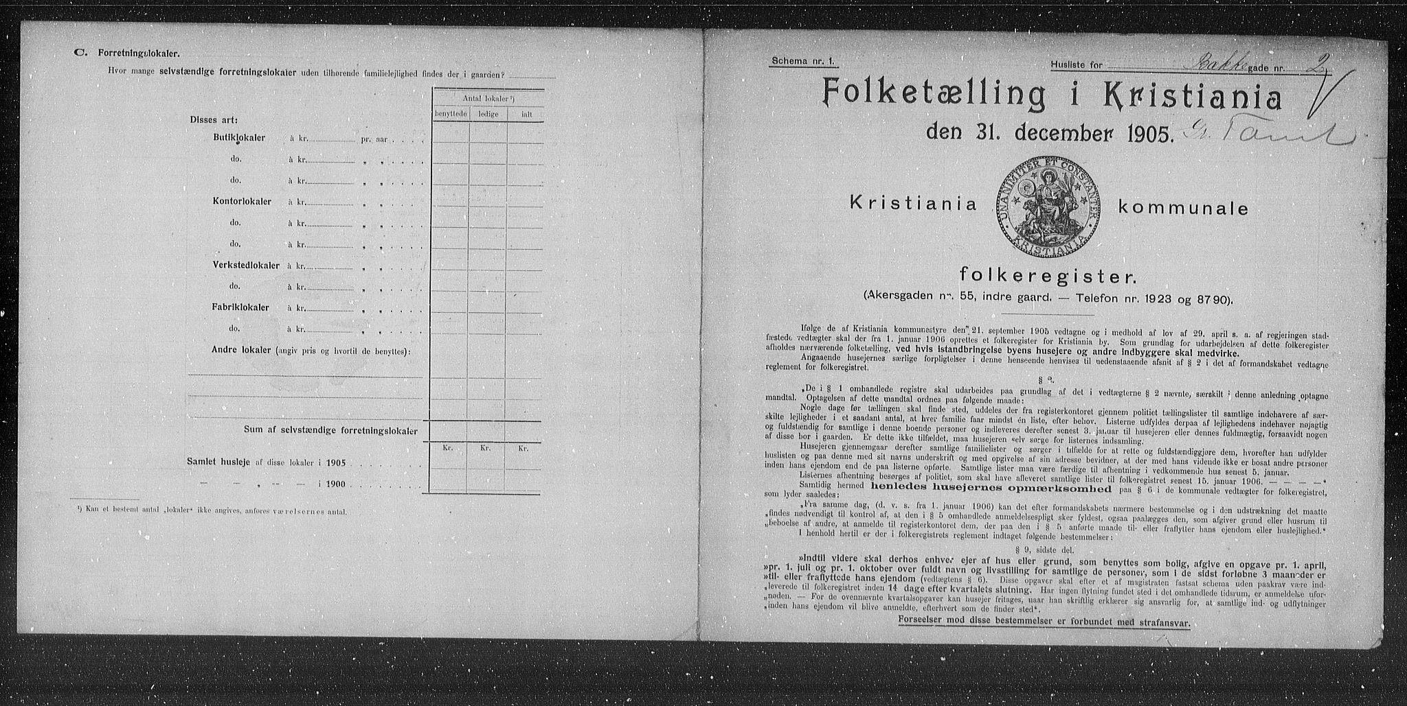 OBA, Municipal Census 1905 for Kristiania, 1905, p. 5723