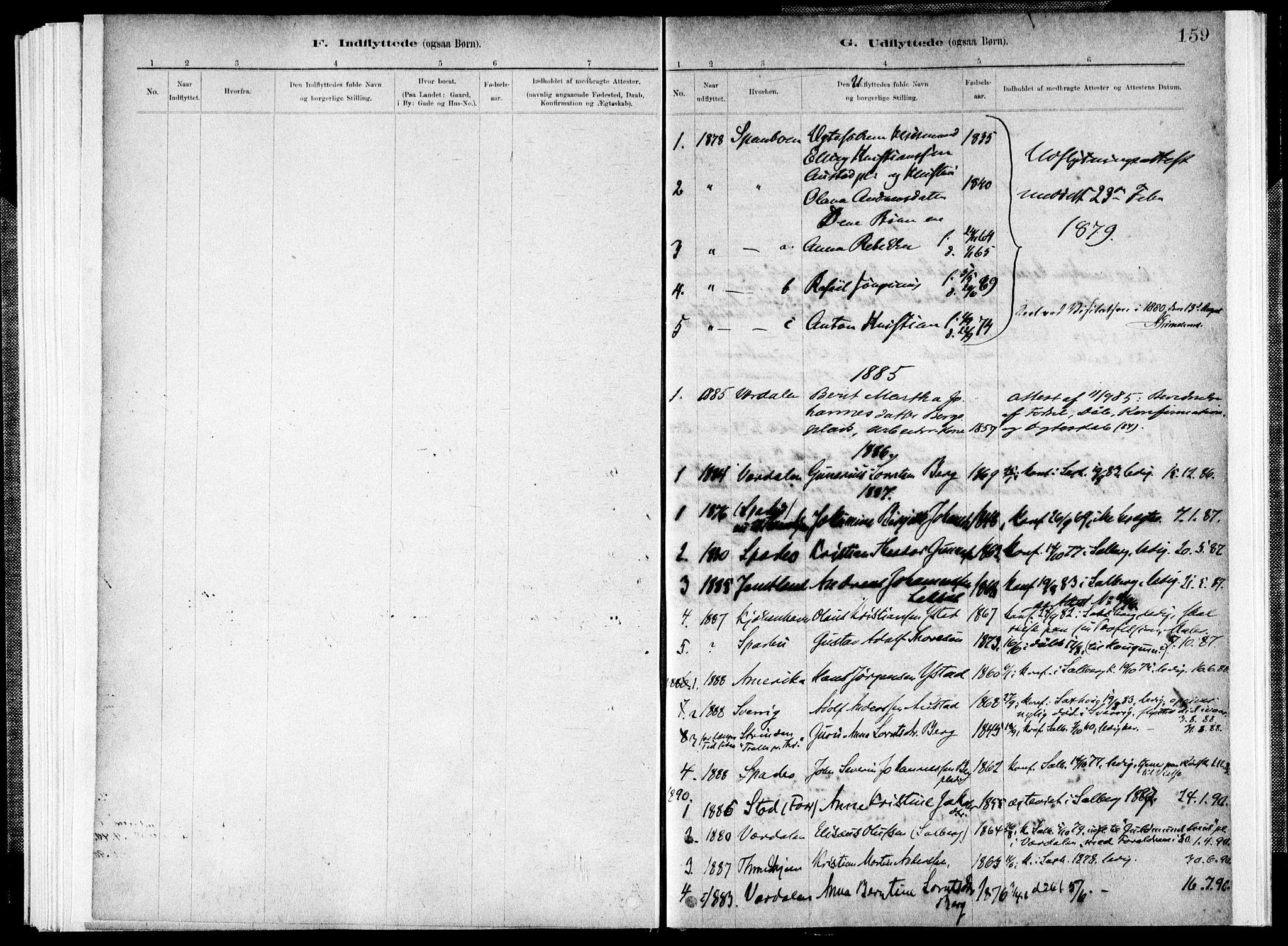 SAT, Ministerialprotokoller, klokkerbøker og fødselsregistre - Nord-Trøndelag, 731/L0309: Parish register (official) no. 731A01, 1879-1918, p. 159
