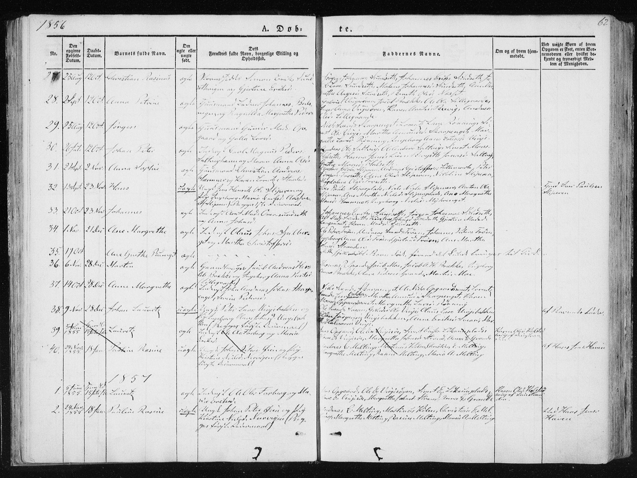 SAT, Ministerialprotokoller, klokkerbøker og fødselsregistre - Nord-Trøndelag, 733/L0323: Parish register (official) no. 733A02, 1843-1870, p. 62