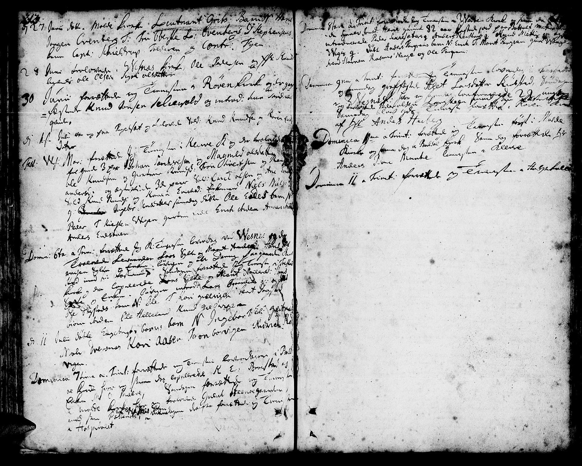 SAT, Ministerialprotokoller, klokkerbøker og fødselsregistre - Møre og Romsdal, 547/L0599: Parish register (official) no. 547A01, 1721-1764, p. 212-213