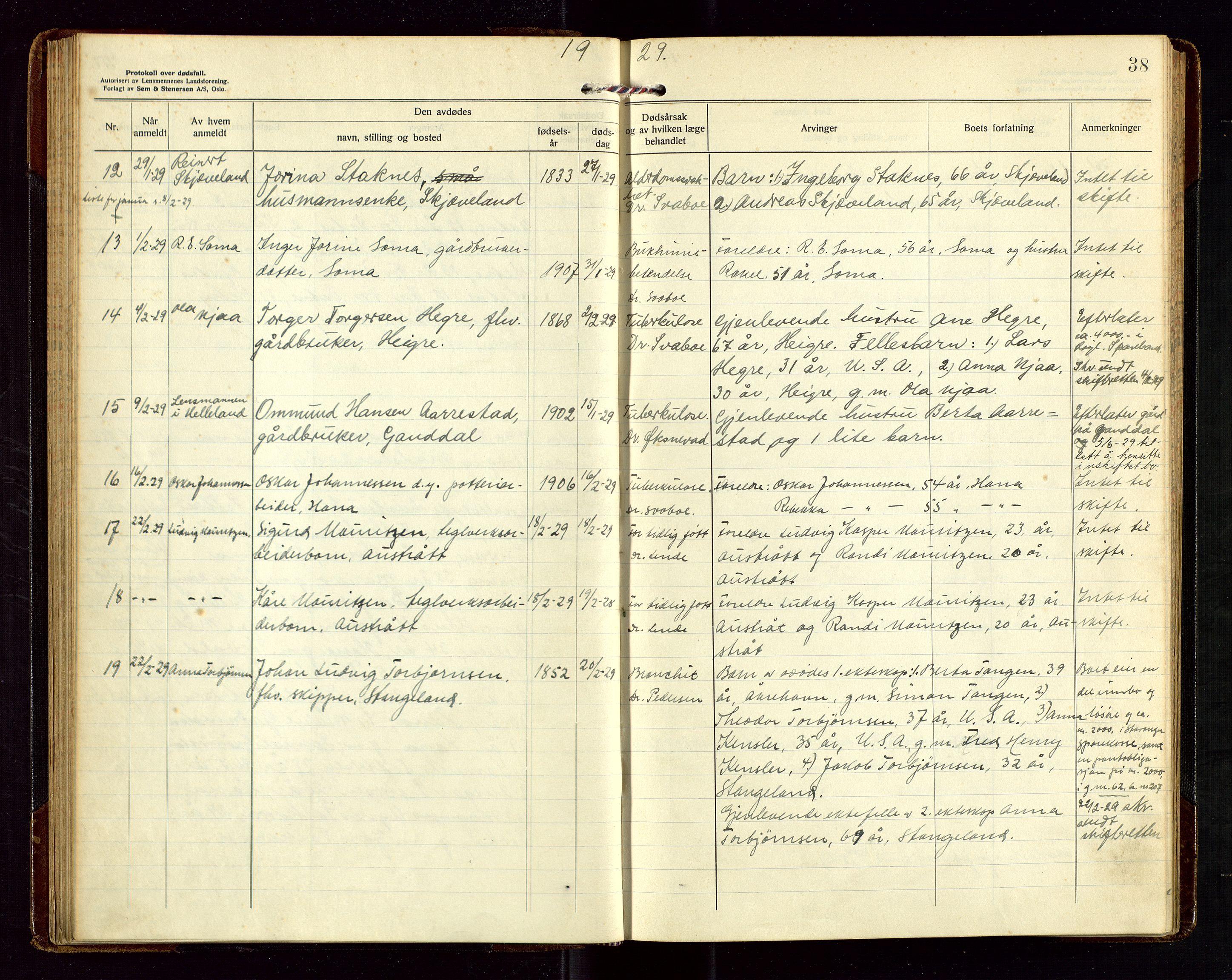 """SAST, Høyland/Sandnes lensmannskontor, Gga/L0006: """"Protkokoll over anmeldte dødsfall i Høylands lensmandsdistrikt"""", 1926-1937, p. 38"""