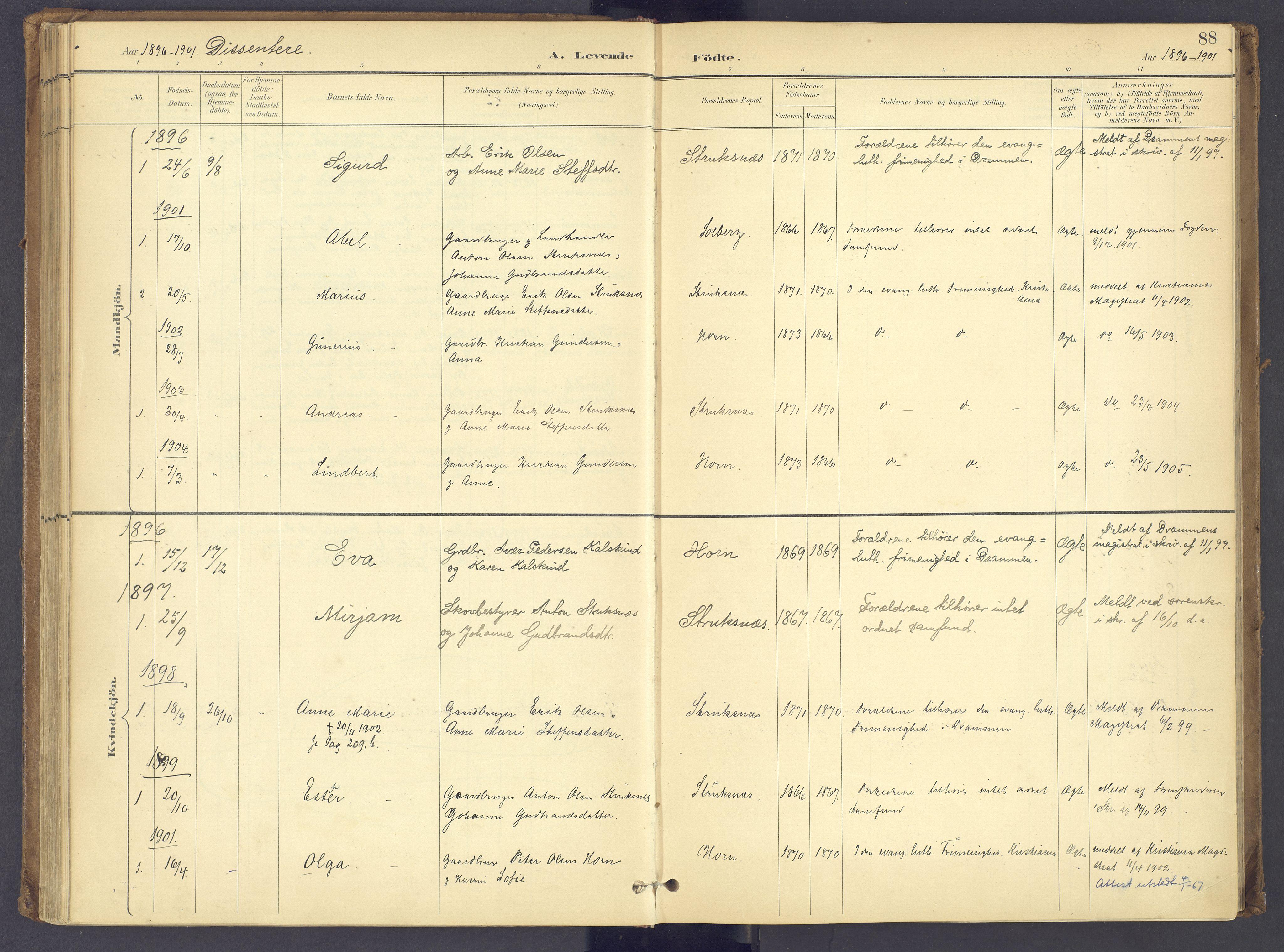SAH, Søndre Land prestekontor, K/L0006: Parish register (official) no. 6, 1895-1904, p. 88