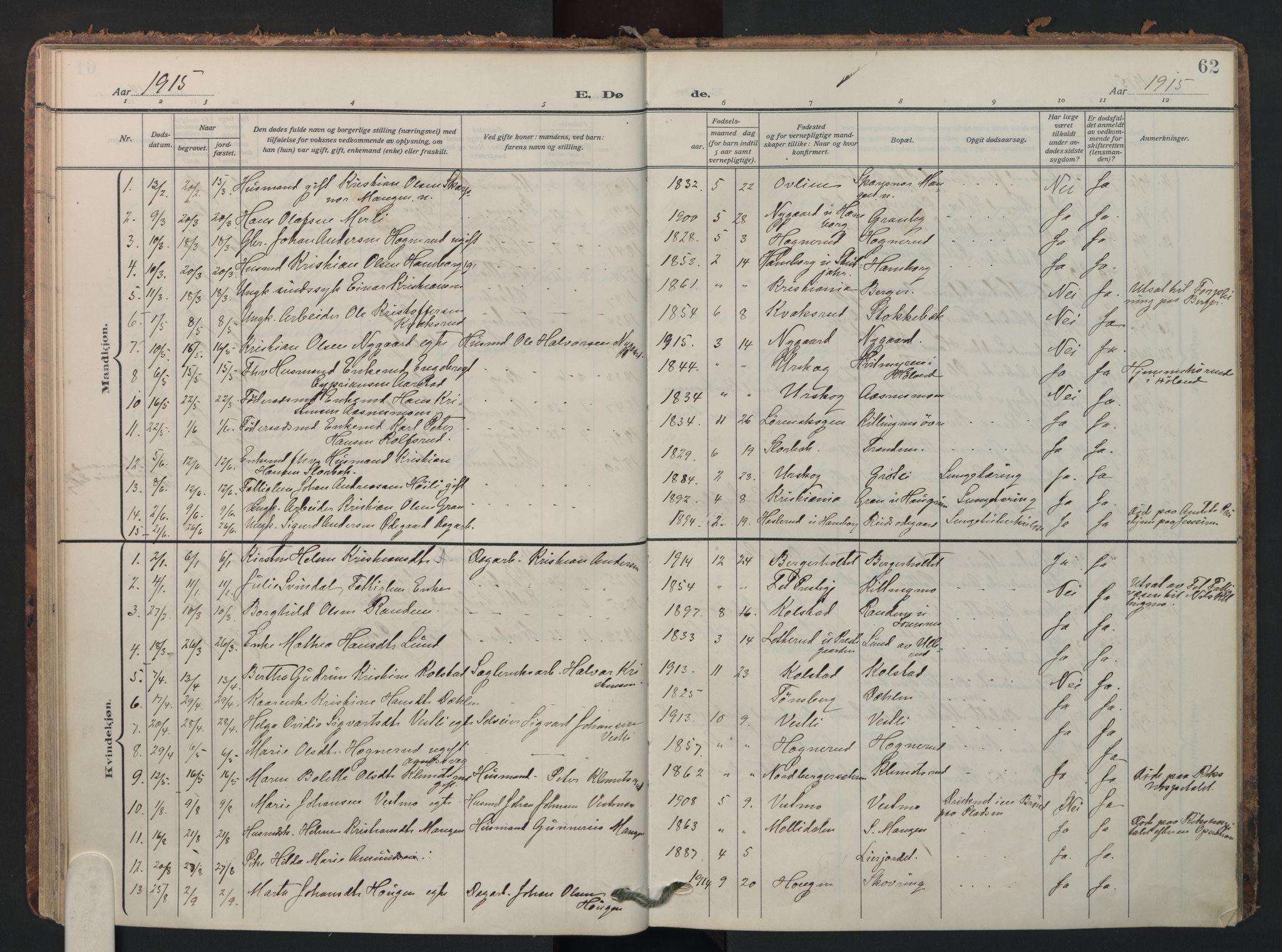 SAO, Aurskog prestekontor Kirkebøker, F/Fa/L0016: Parish register (official) no. I 16, 1910-1934, p. 62