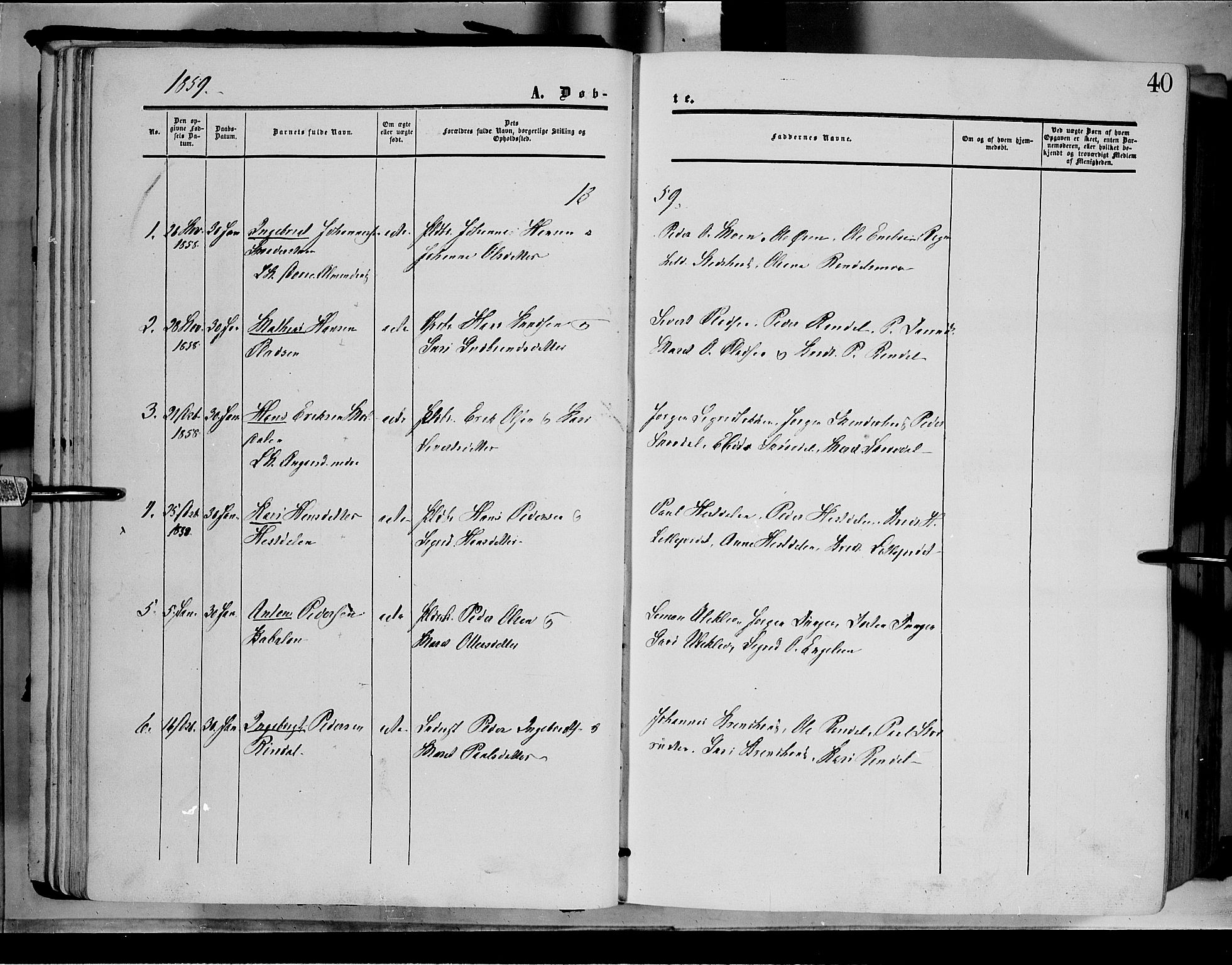 SAH, Dovre prestekontor, Parish register (official) no. 1, 1854-1878, p. 40