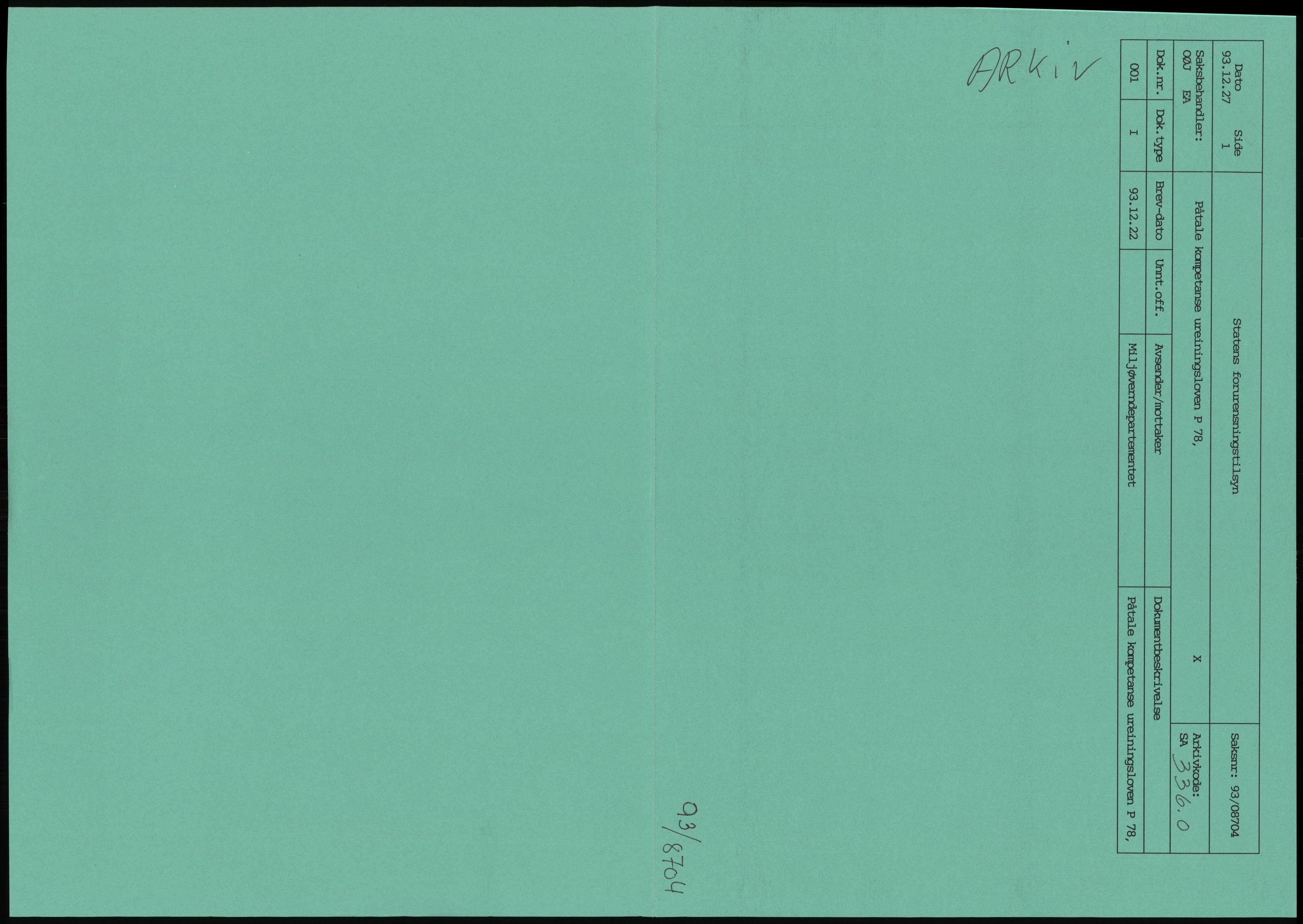 RA, Statens forurensningstilsyn, hovedkontoret, D/Da/L0440: Lover, forskrifter og juridiske spørsmål, 1984-1993, p. 1