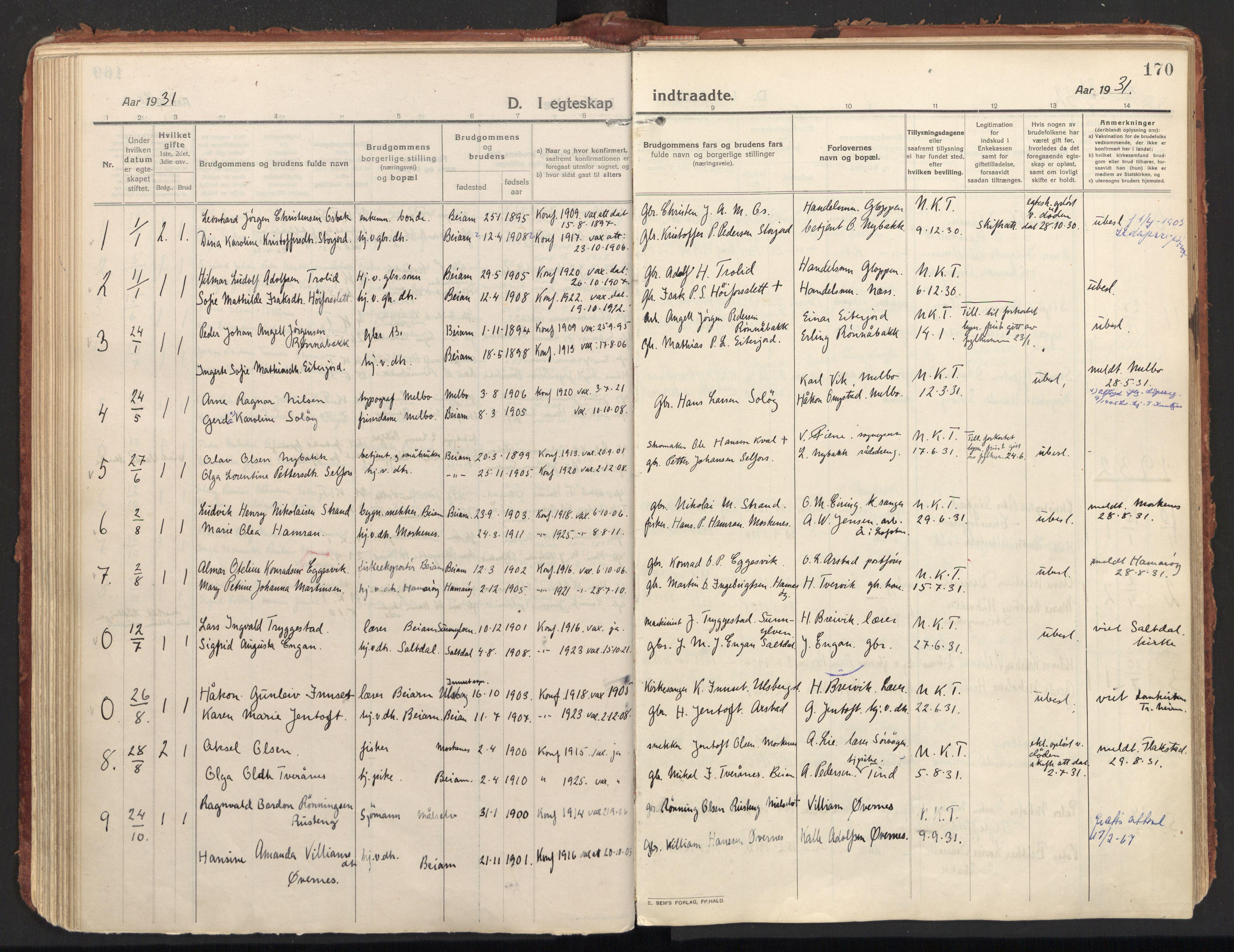 SAT, Ministerialprotokoller, klokkerbøker og fødselsregistre - Nordland, 846/L0650: Parish register (official) no. 846A08, 1916-1935, p. 170