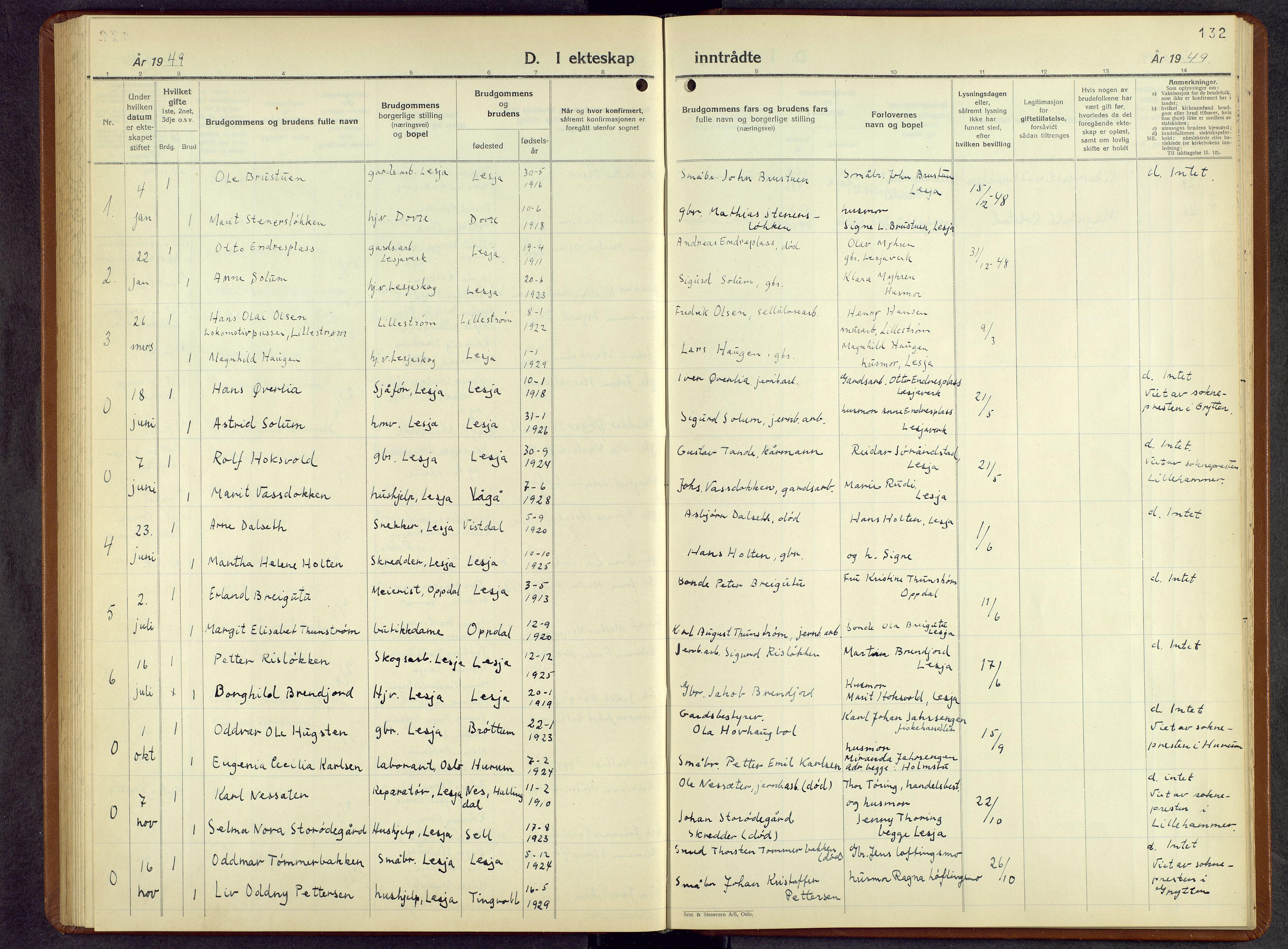 SAH, Lesja prestekontor, Parish register (copy) no. 10, 1925-1960, p. 132