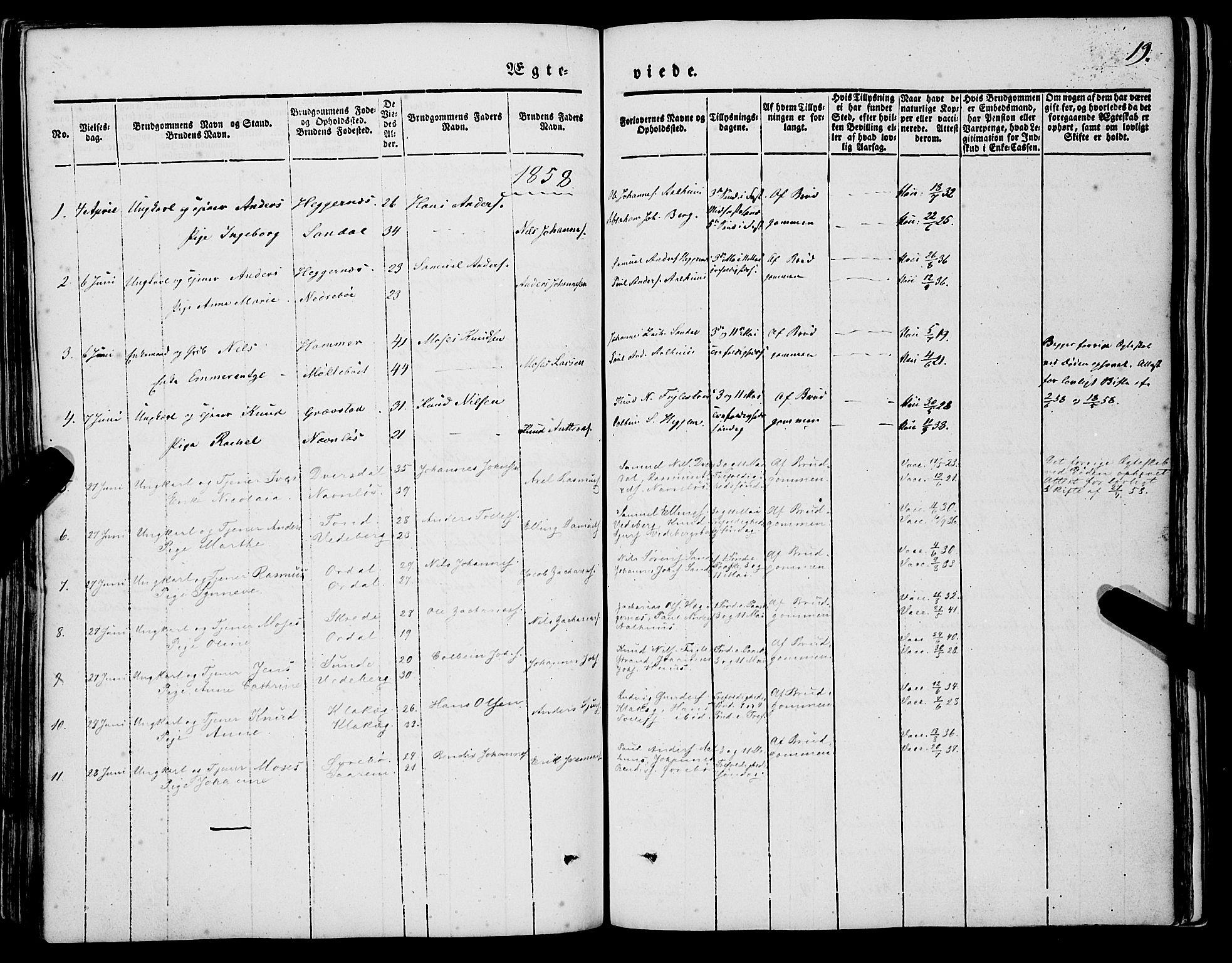 SAB, Jølster sokneprestembete, H/Haa/Haaa/L0010: Parish register (official) no. A 10, 1847-1865, p. 19