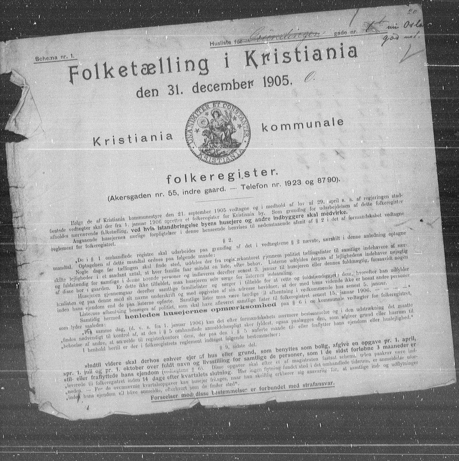 OBA, Municipal Census 1905 for Kristiania, 1905, p. 40441