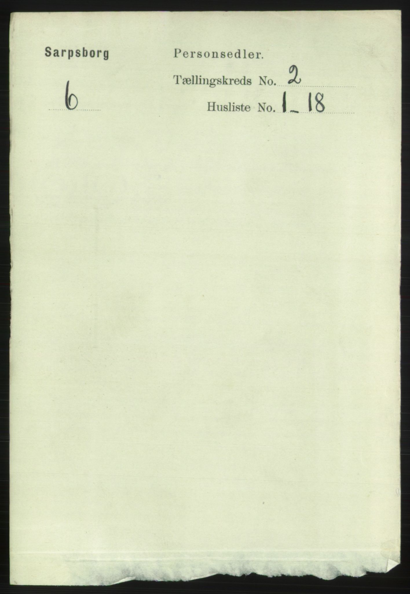 RA, 1891 census for 0102 Sarpsborg, 1891, p. 1261
