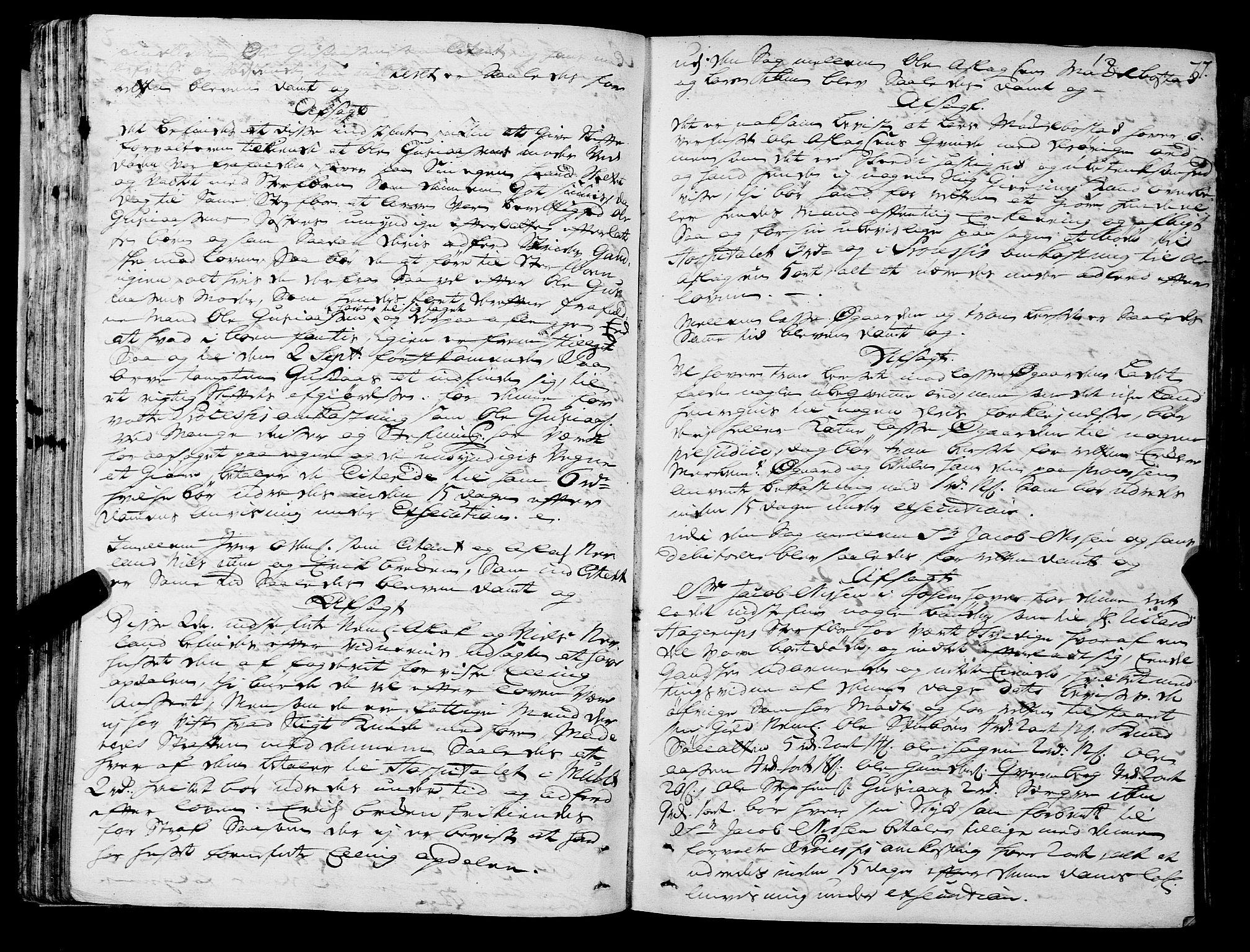 SAT, Romsdal sorenskriveri, 1/1A/L0011: Tingbok, 1732-1740, p. 76b-77a