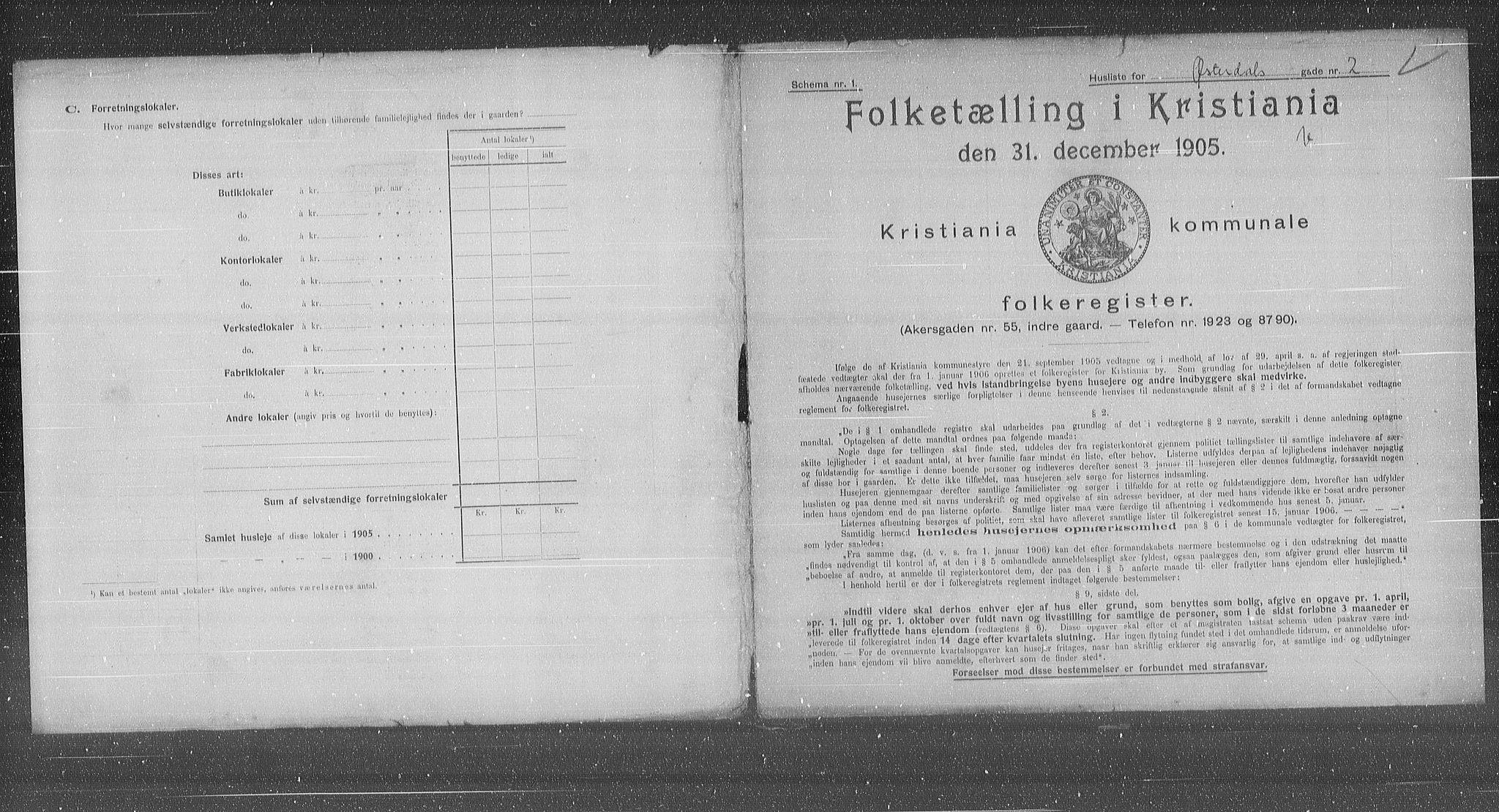 OBA, Municipal Census 1905 for Kristiania, 1905, p. 67792