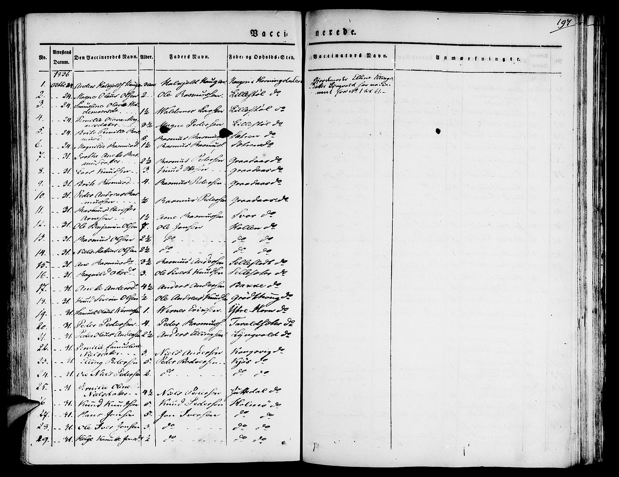 SAB, Eid Sokneprestembete, H/Haa: Parish register (official) no. A 6, 1831-1843, p. 197