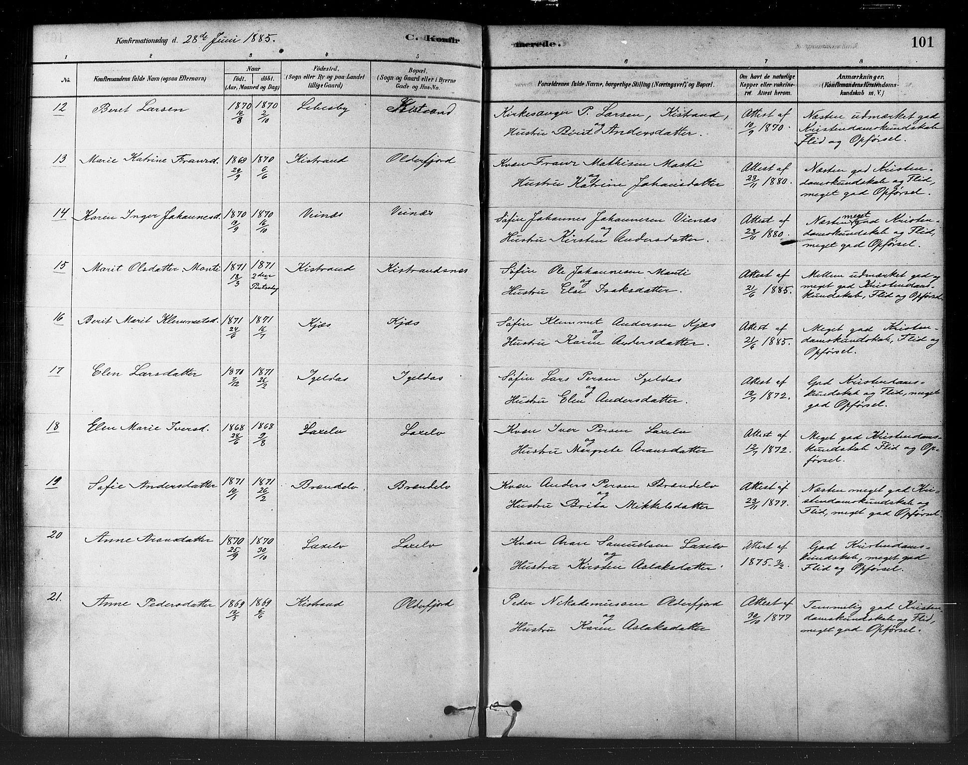 SATØ, Kistrand/Porsanger sokneprestembete, H/Ha/L0007.kirke: Parish register (official) no. 7, 1881-1889, p. 101