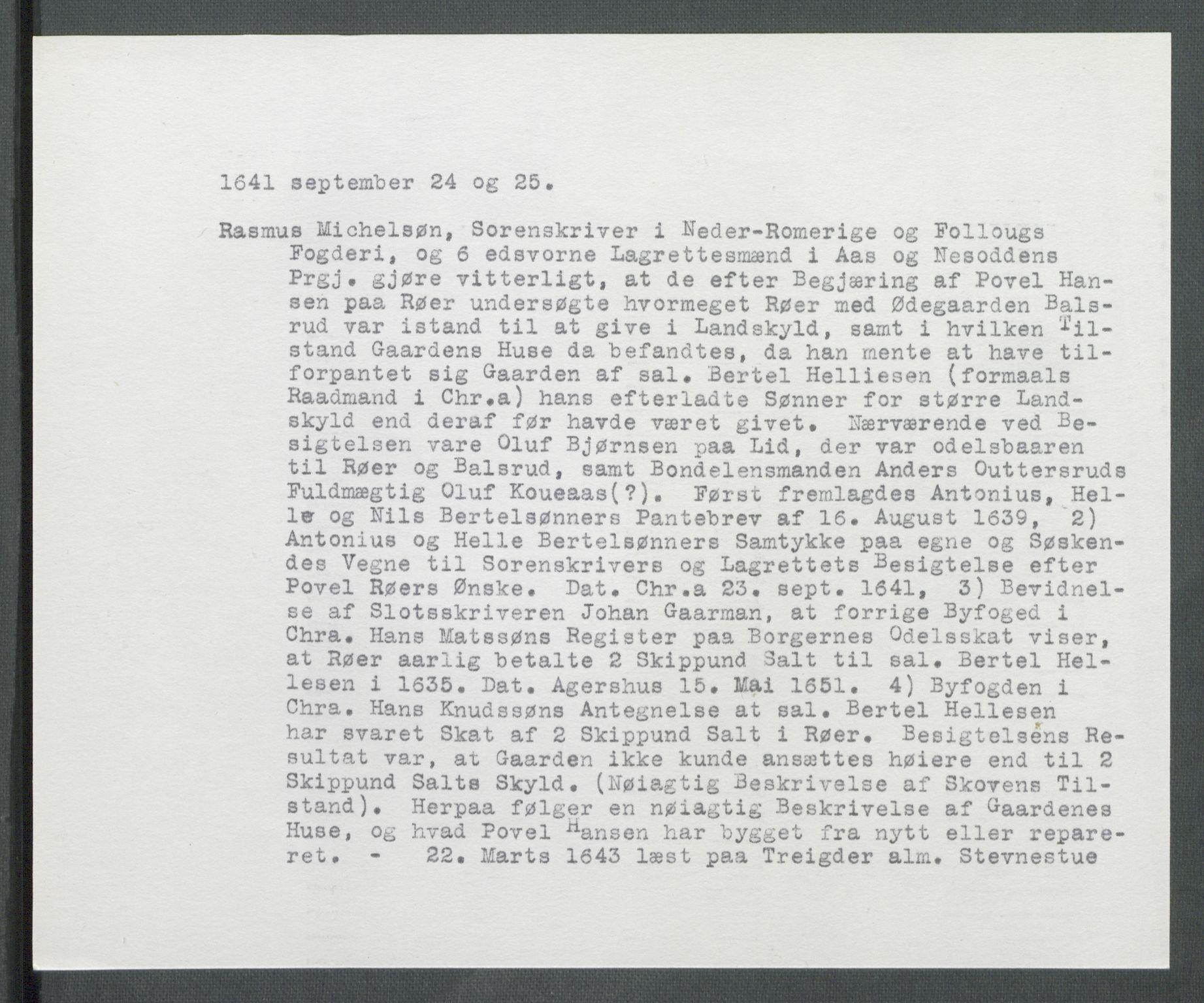 RA, Riksarkivets diplomsamling, F02/L0154: Dokumenter, 1641, p. 43