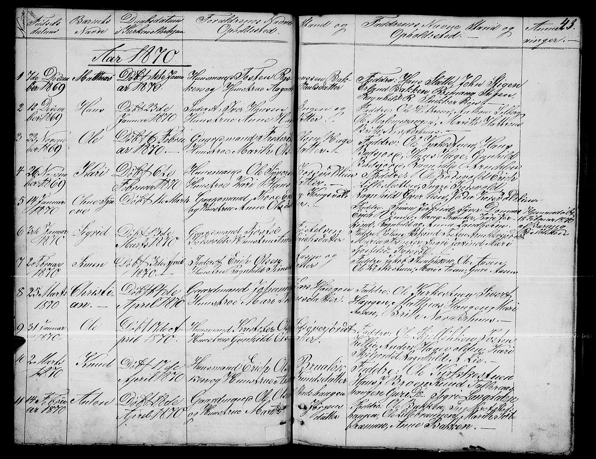 SAH, Dovre prestekontor, Parish register (copy) no. 1, 1862-1880, p. 43