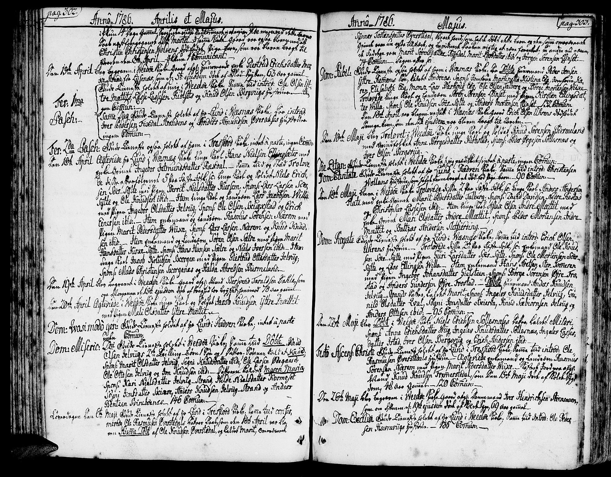 SAT, Ministerialprotokoller, klokkerbøker og fødselsregistre - Møre og Romsdal, 547/L0600: Parish register (official) no. 547A02, 1765-1799, p. 302-303