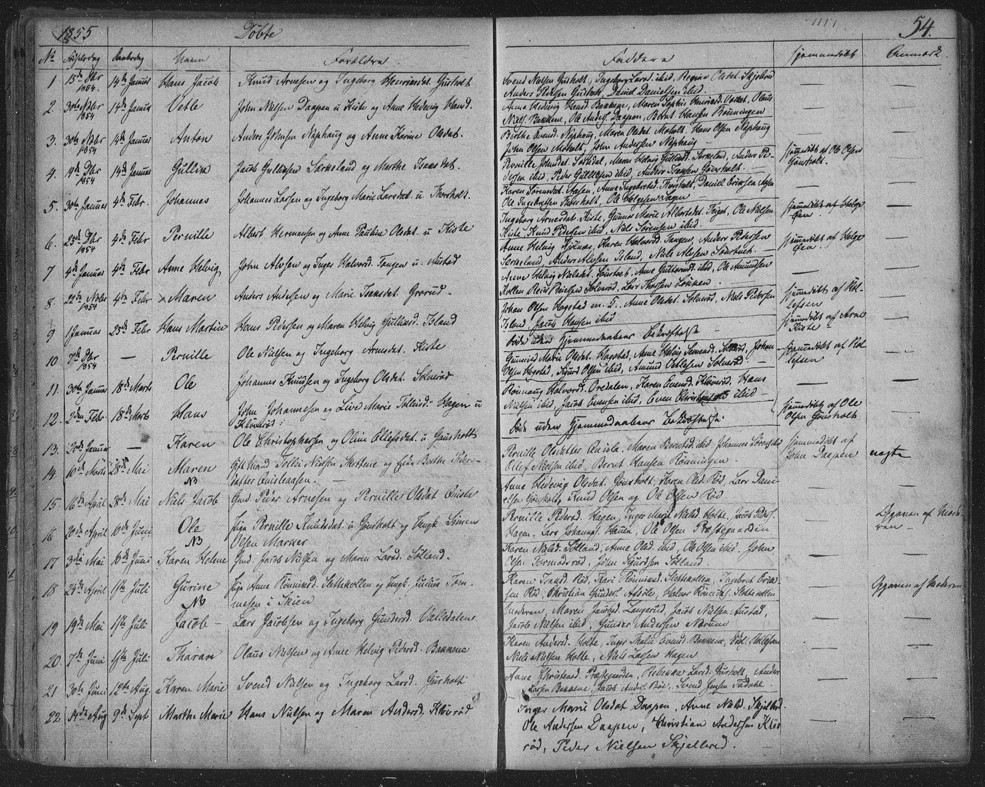 SAKO, Siljan kirkebøker, F/Fa/L0001: Parish register (official) no. 1, 1831-1870, p. 54