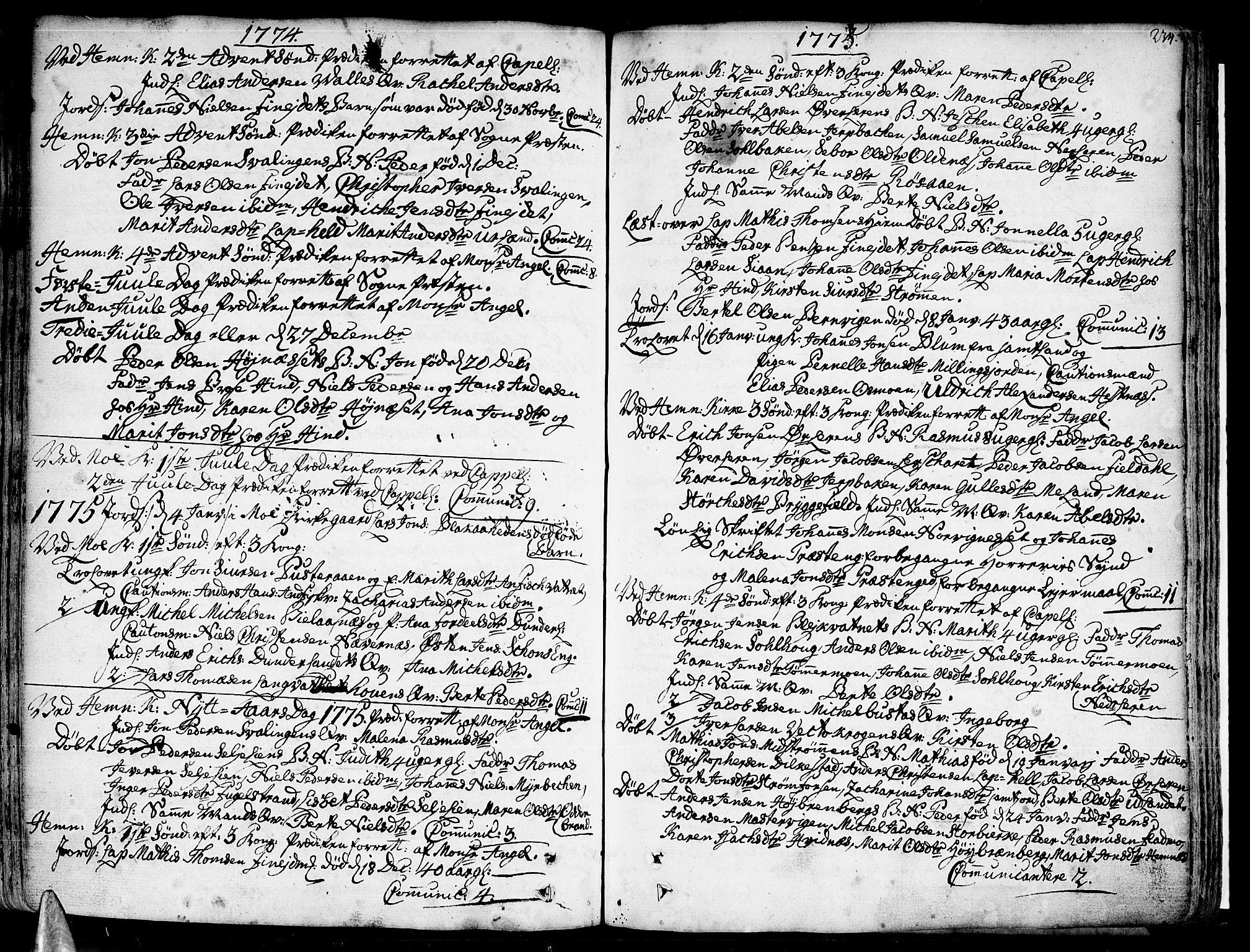 SAT, Ministerialprotokoller, klokkerbøker og fødselsregistre - Nordland, 825/L0348: Parish register (official) no. 825A04, 1752-1788, p. 234