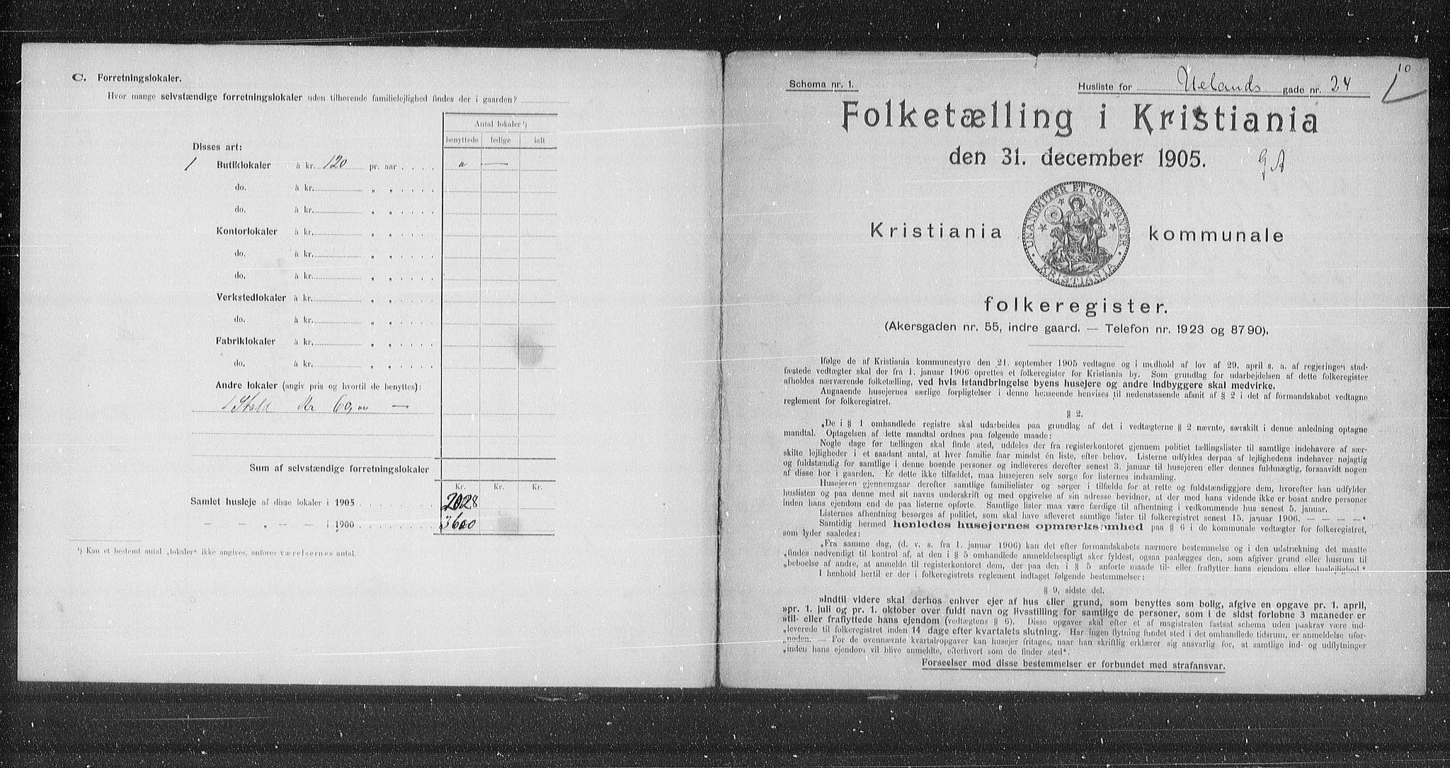 OBA, Municipal Census 1905 for Kristiania, 1905, p. 62314